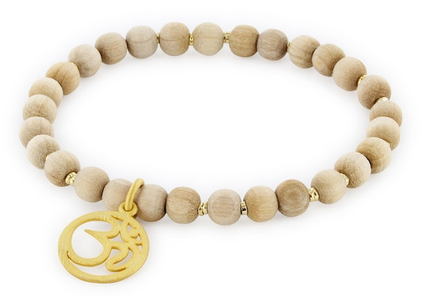 Armbaender für Frauen - YOGISTAR.COM Armband Vintage Wood ''om'' beige gold  - Onlineshop ABOUT YOU