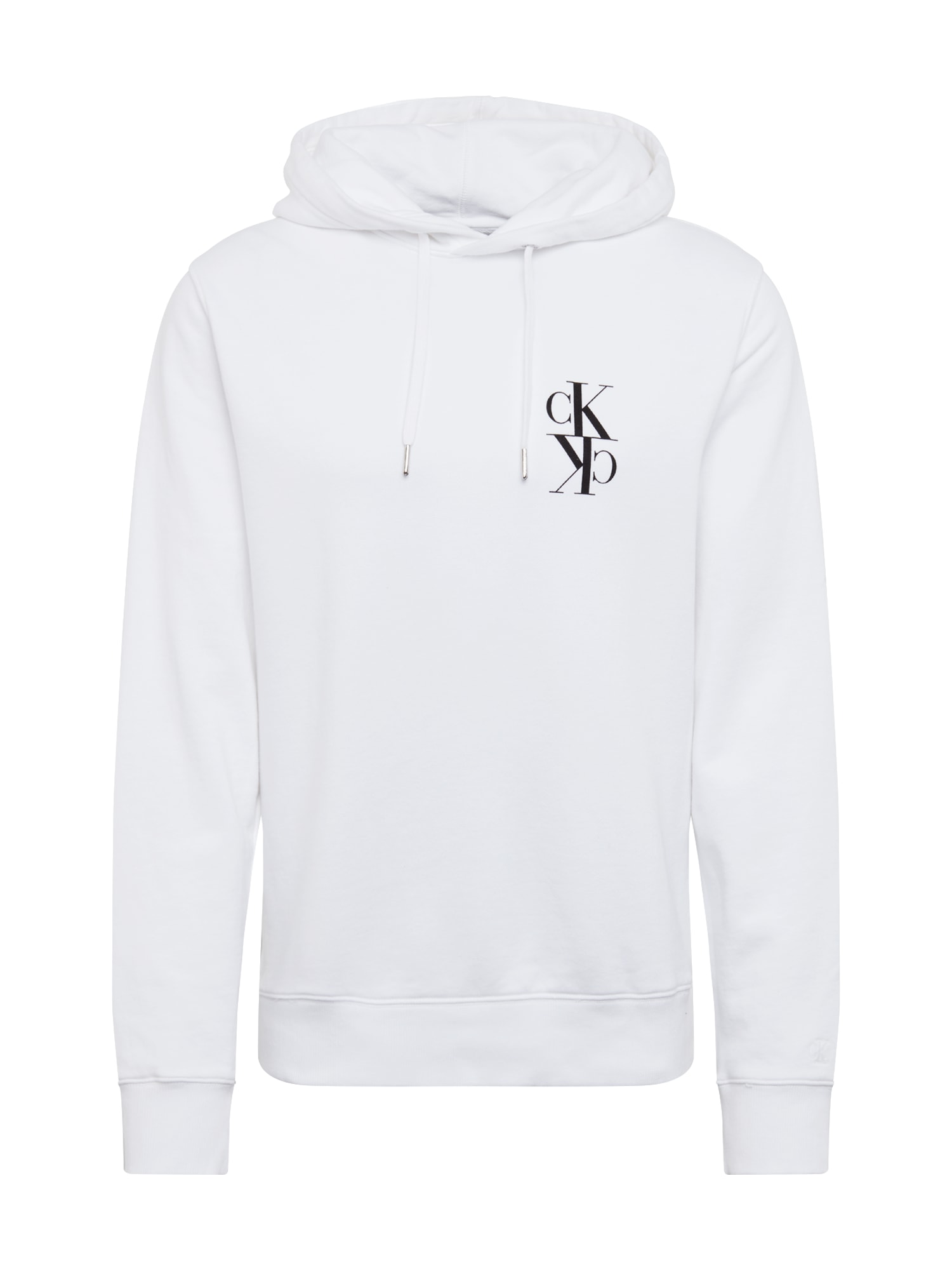 Calvin Klein Jeans Megztinis be užsegimo 'BACK MIRRORED MONOGRAM HOODIE' balta / juoda