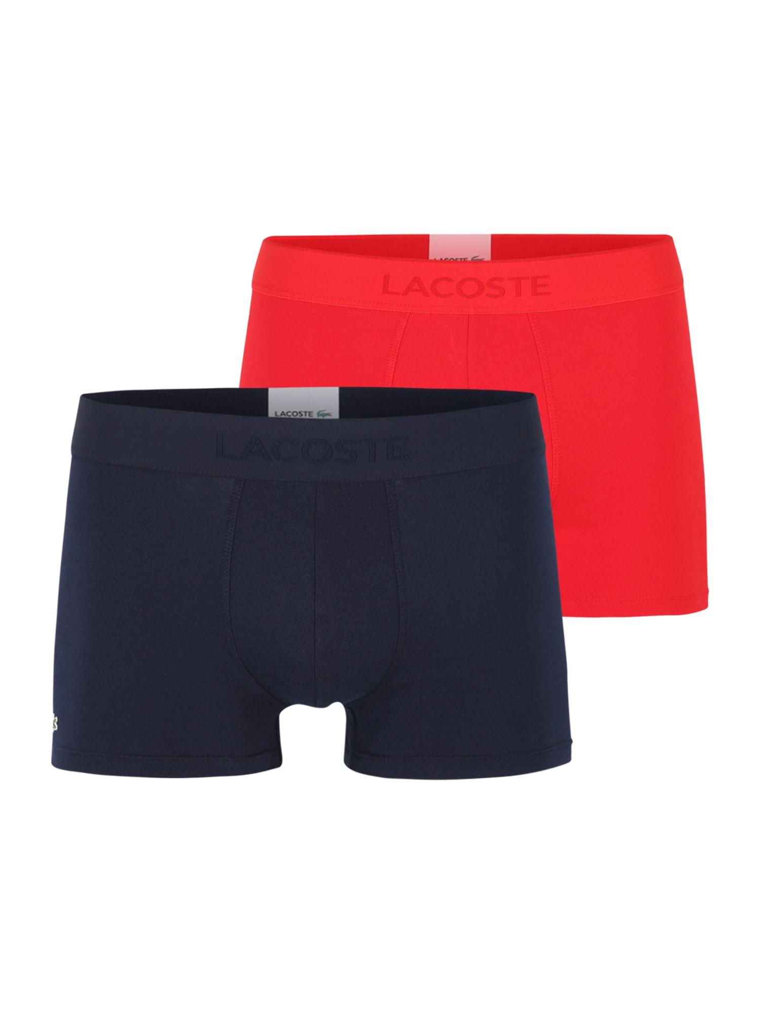 LACOSTE Boxer trumpikės tamsiai mėlyna jūros spalva / raudona