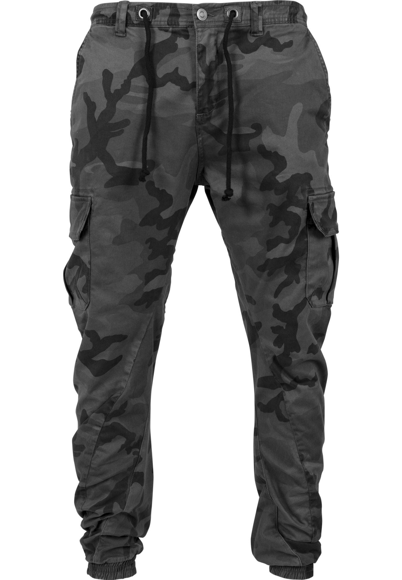 Urban Classics Laisvo stiliaus kelnės pilka / tamsiai pilka / juoda