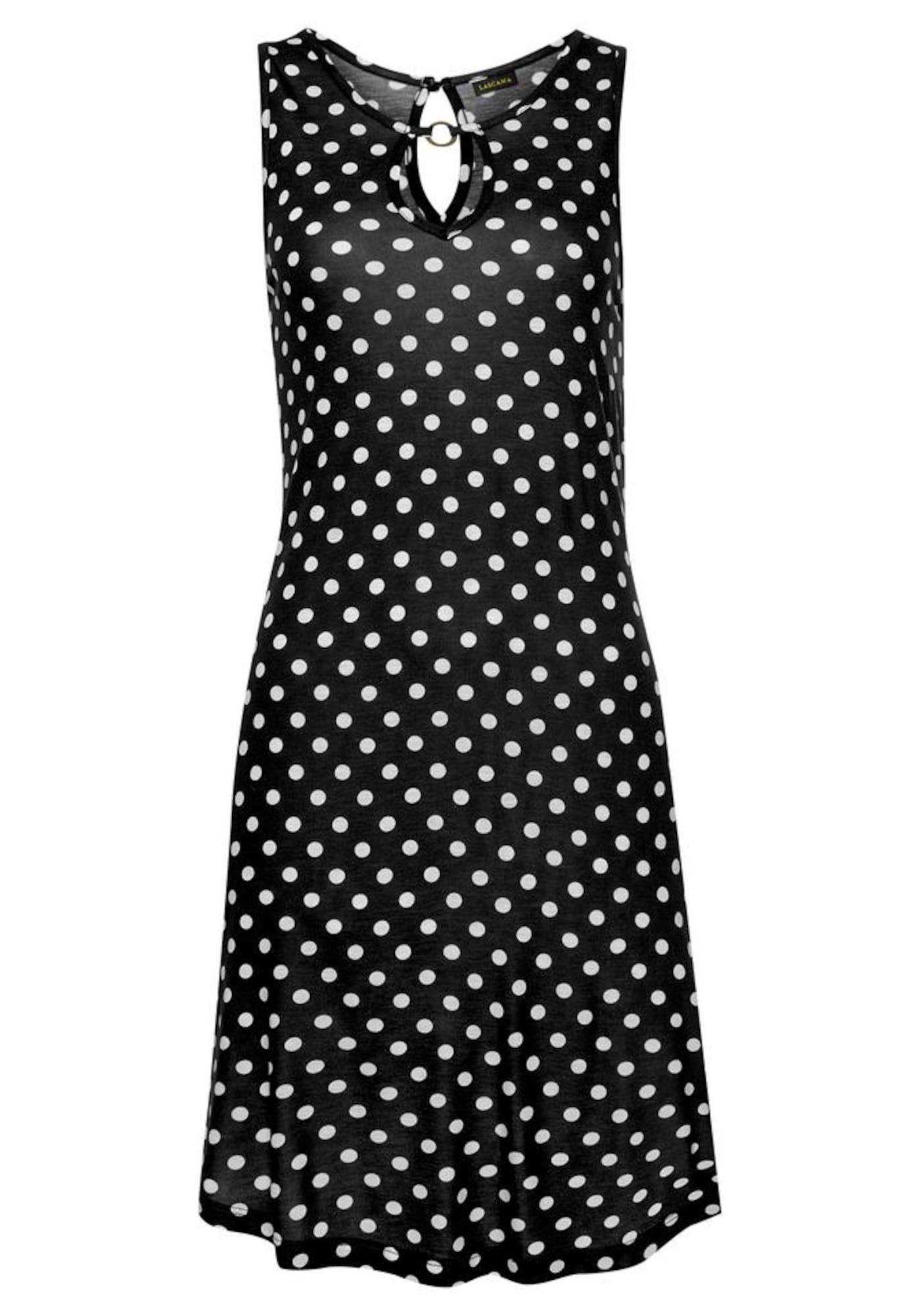 LASCANA Paplūdimio suknelė juoda / balta