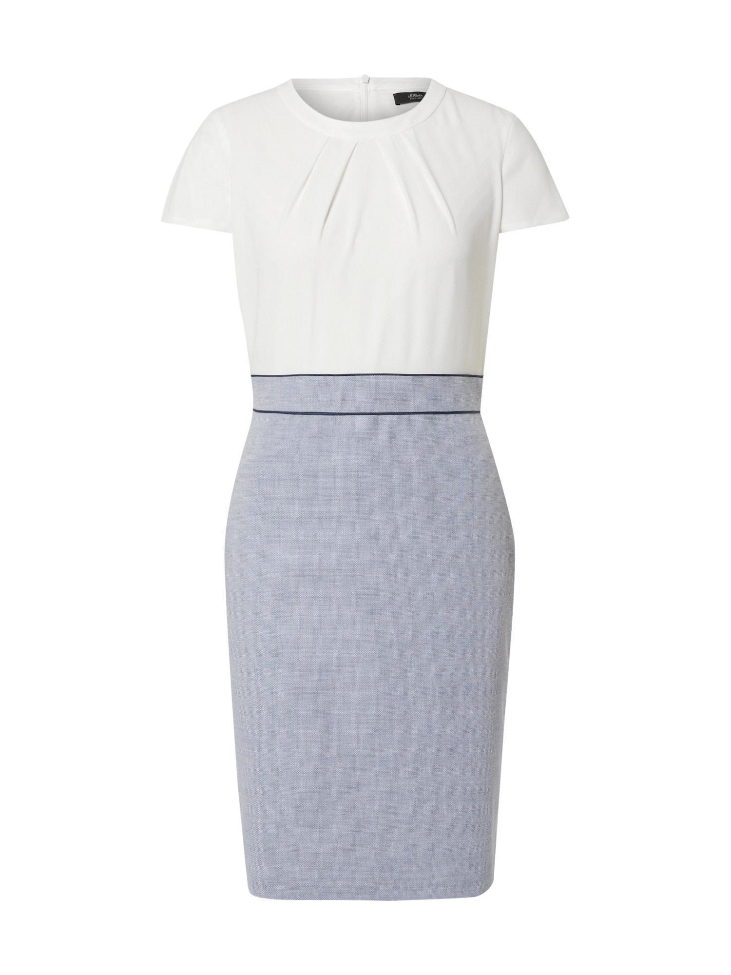 s.Oliver BLACK LABEL Trumpa kokteilinė suknelė balta / melsvai pilka