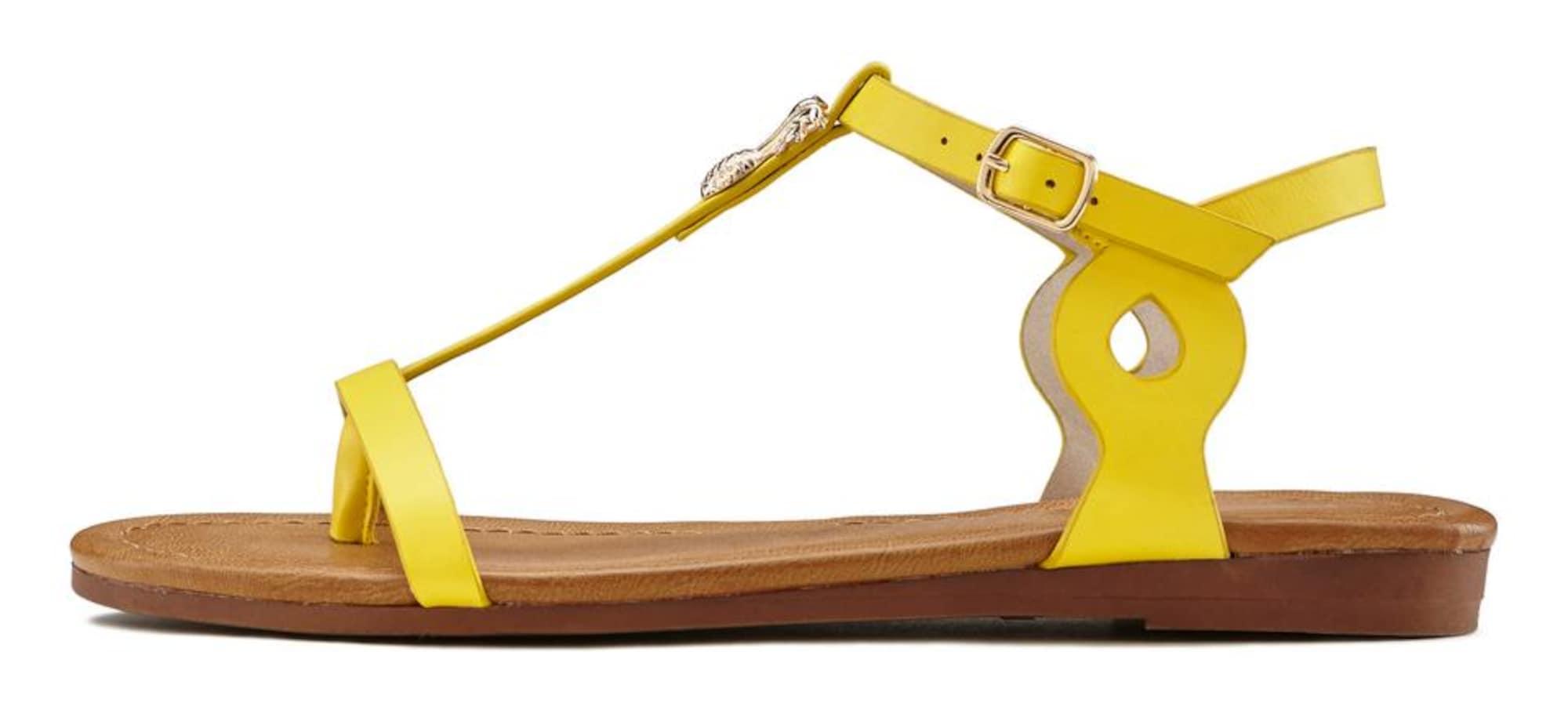 LASCANA Šlepetės per pirštą geltona