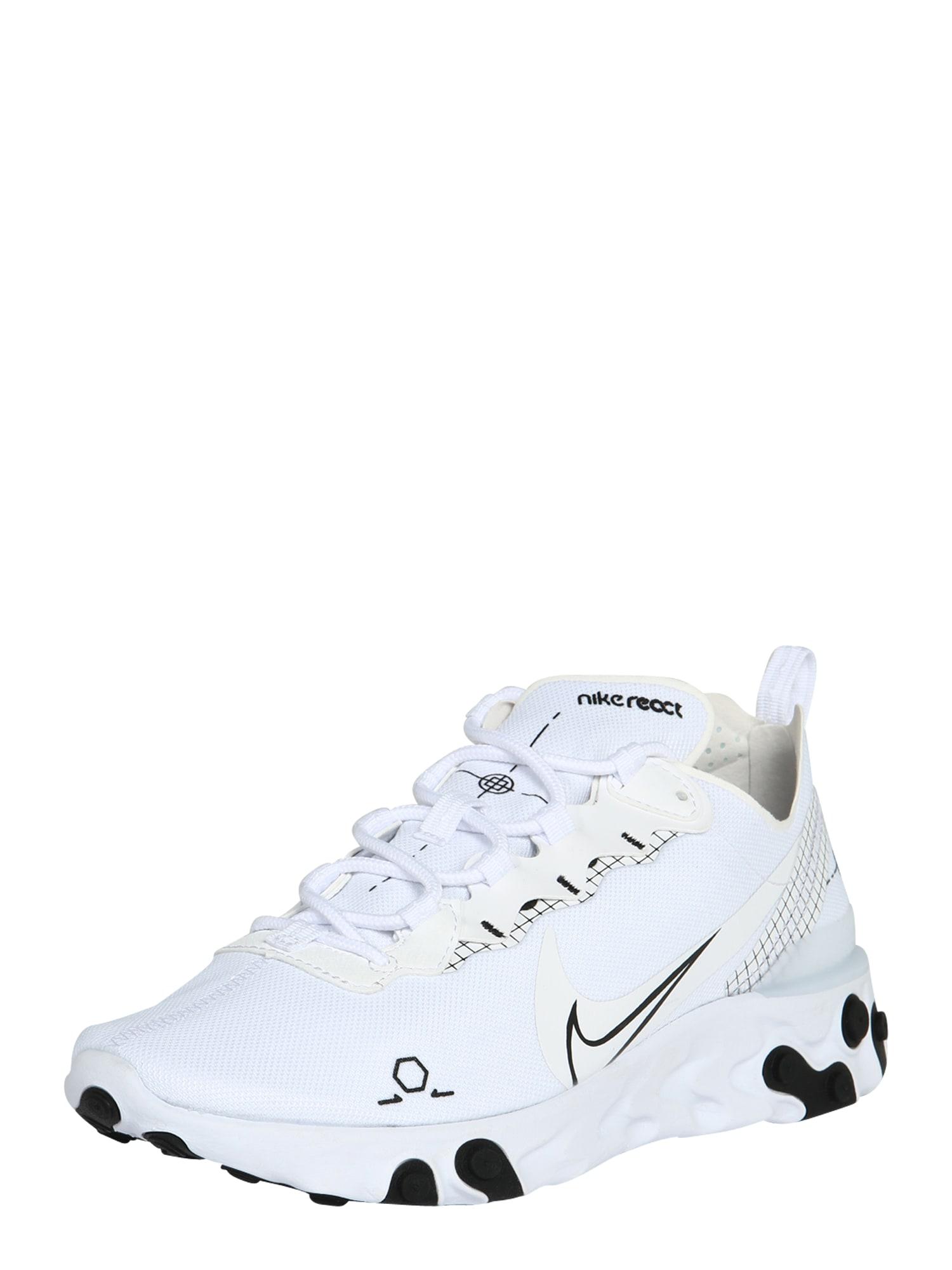 Nike Sportswear Sportbačiai be auliuko 'NIKE REACT ELEMENT 55' juoda / balta