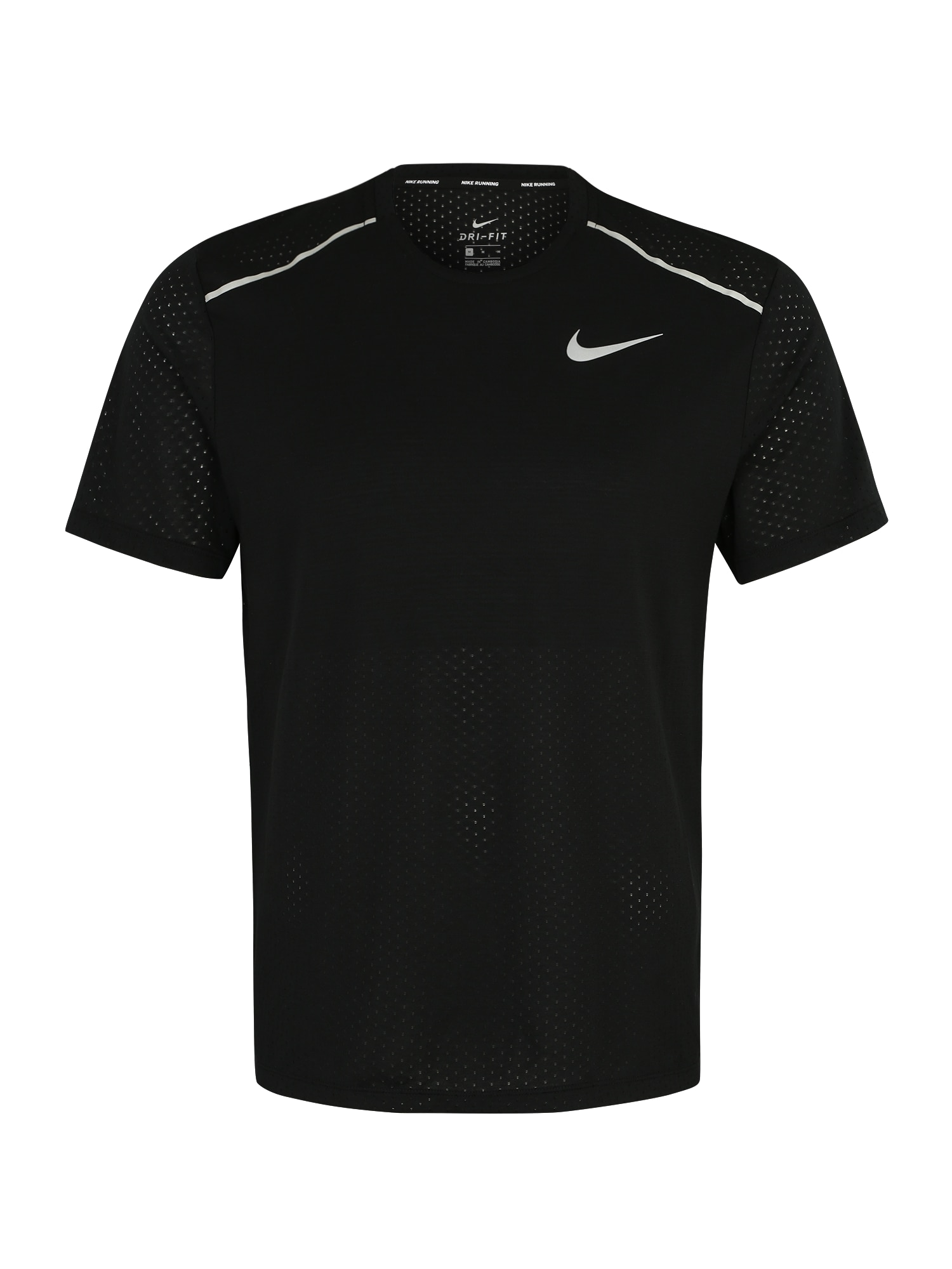 NIKE Sportiniai marškinėliai 'Rise' balta / juoda