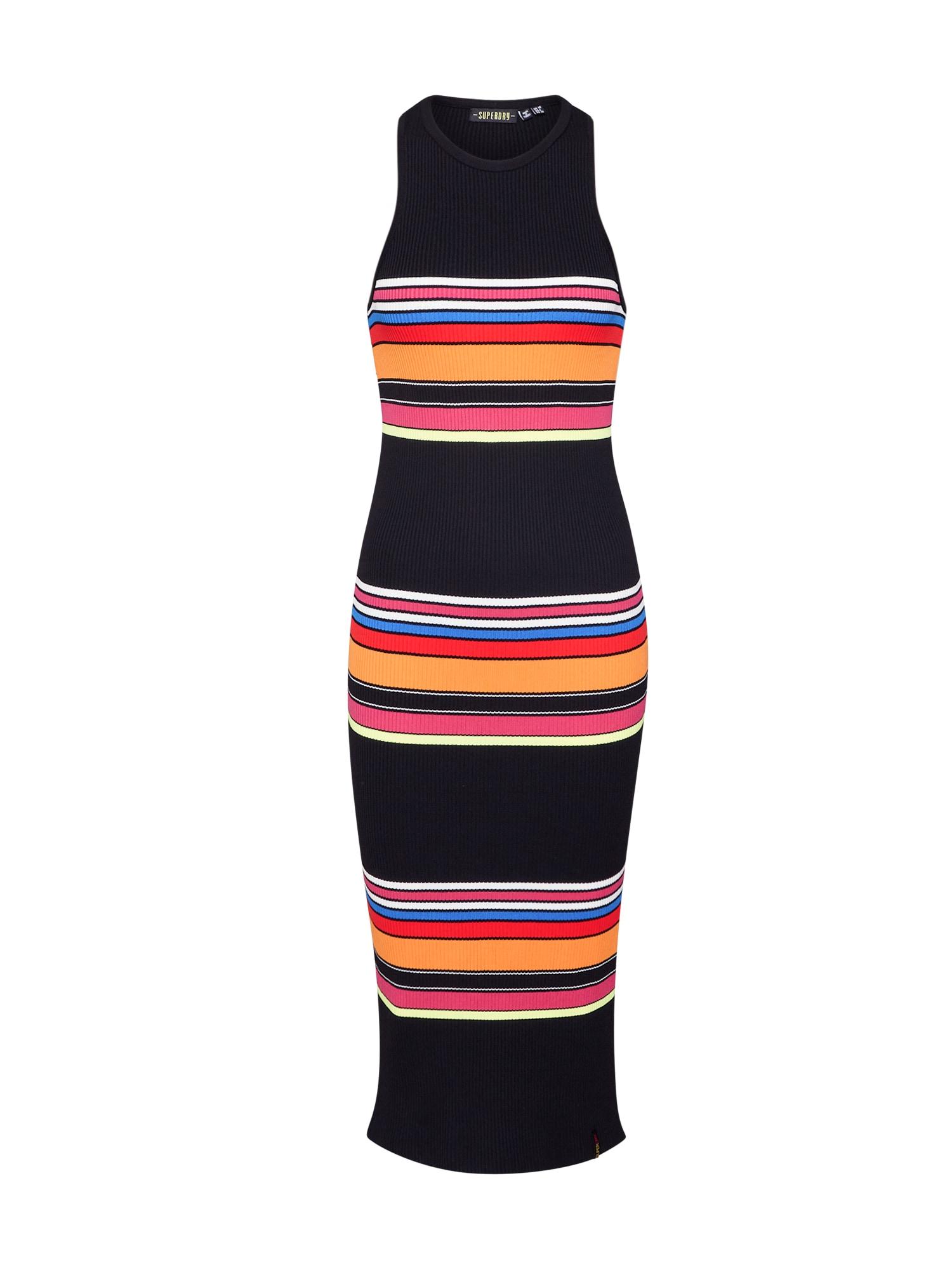 Superdry Šaty 'STRIPE MIDI DRESS'  zmiešané farby / čierna