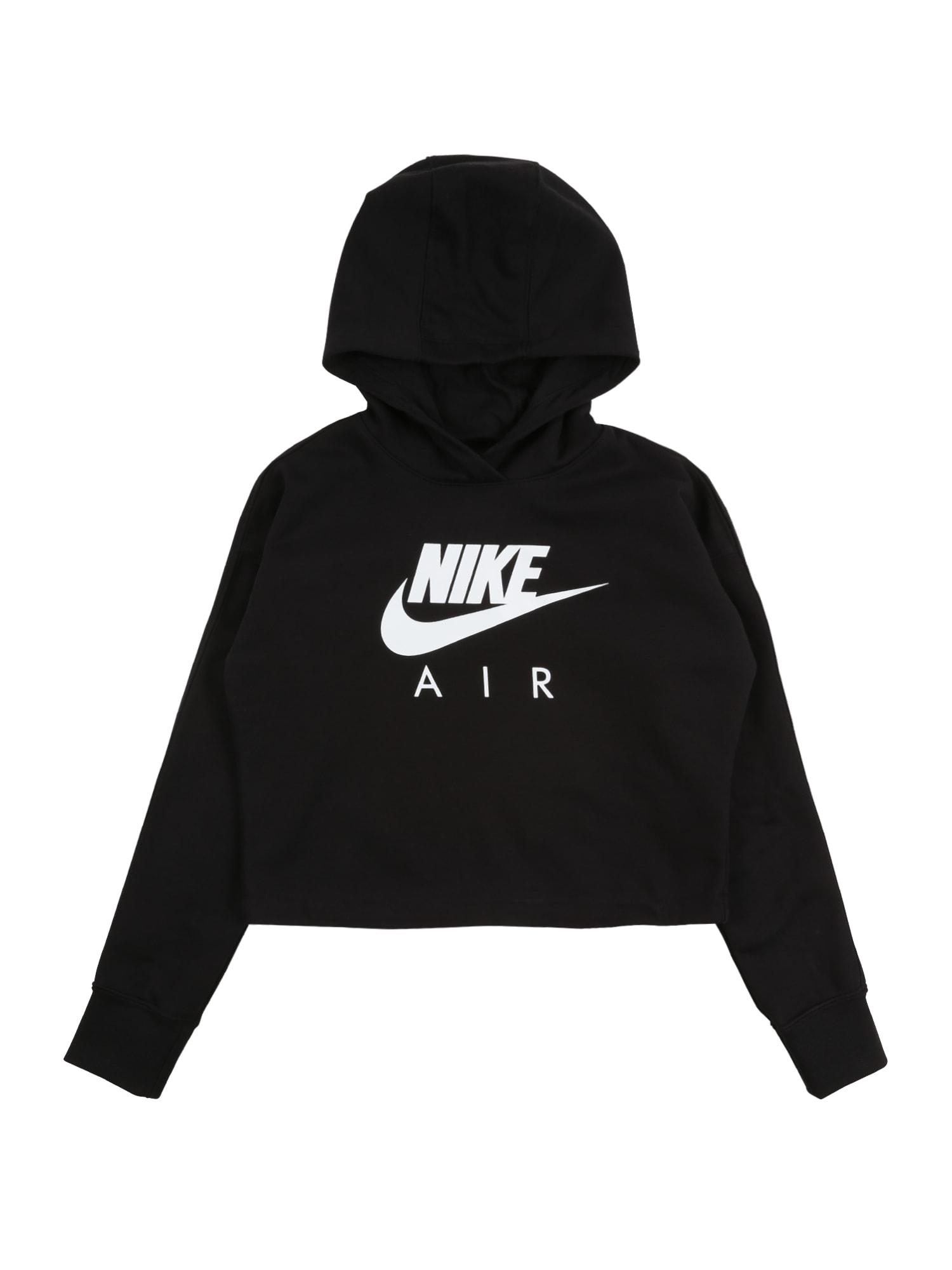 Nike Sportswear Megztinis be užsegimo juoda / balta