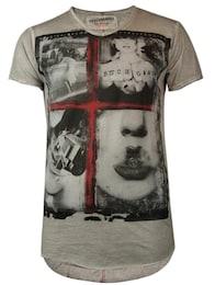 trueprodigy Herren T-Shirt Guns and Girls mit V-Ausschnitt grau,rot,schwarz | 04057124014686