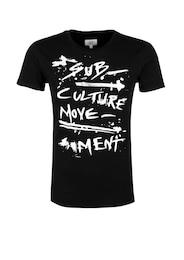 Q/S Designed By Herren Rockiges Printshirt schwarz,weiß | 04056523417012