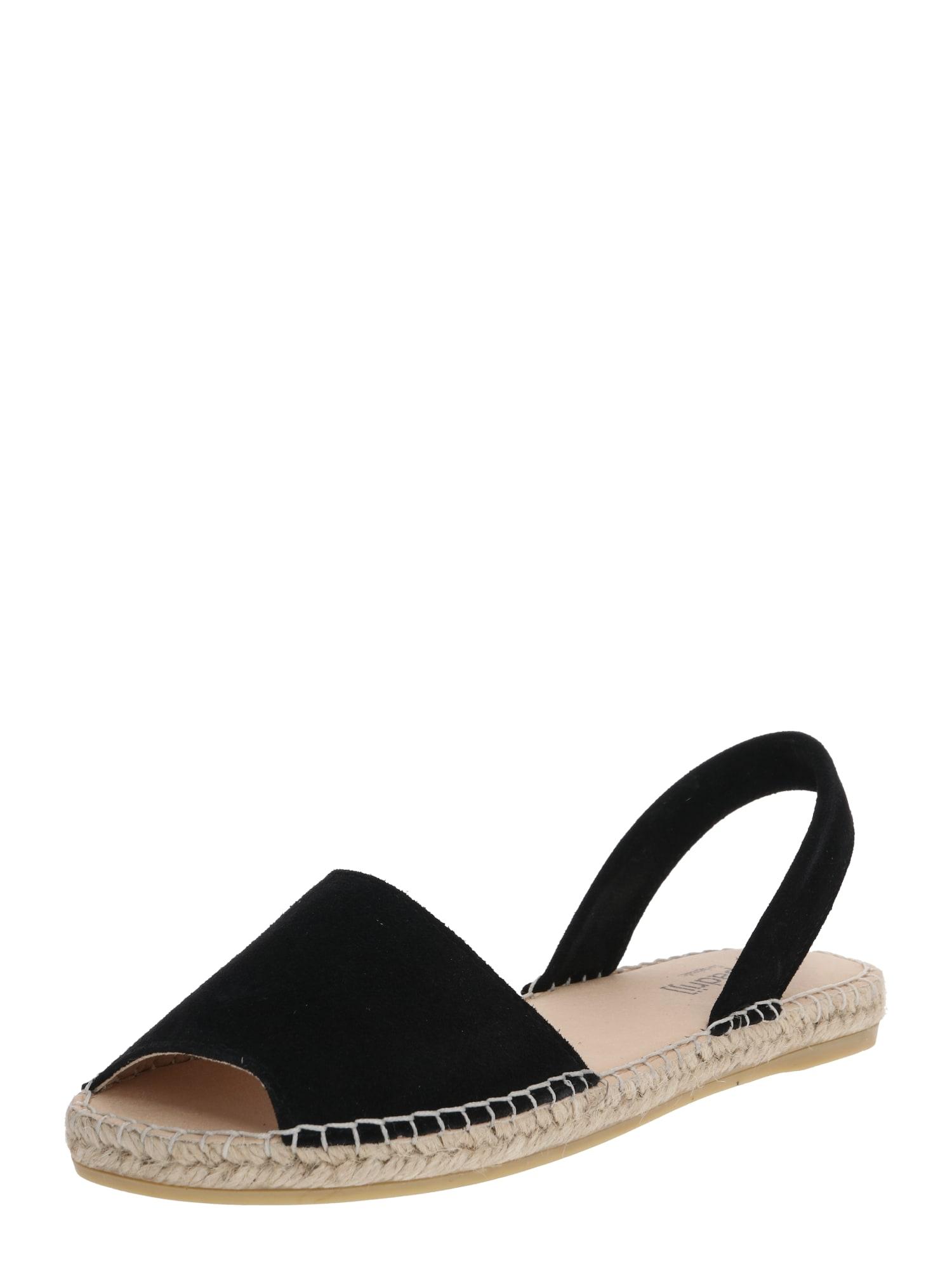 espadrij l´originale Espadrilės 'Menorque Velour' smėlio / juoda