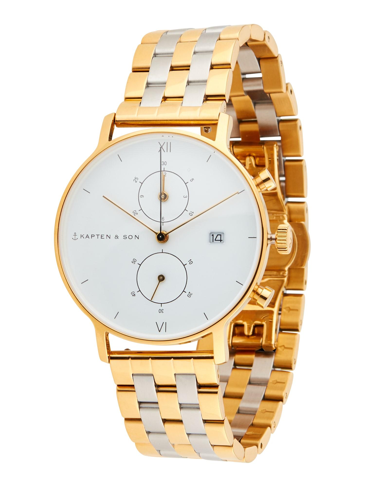 Kapten & Son Analoginis (įprasto dizaino) laikrodis auksas / sidabrinė / balta