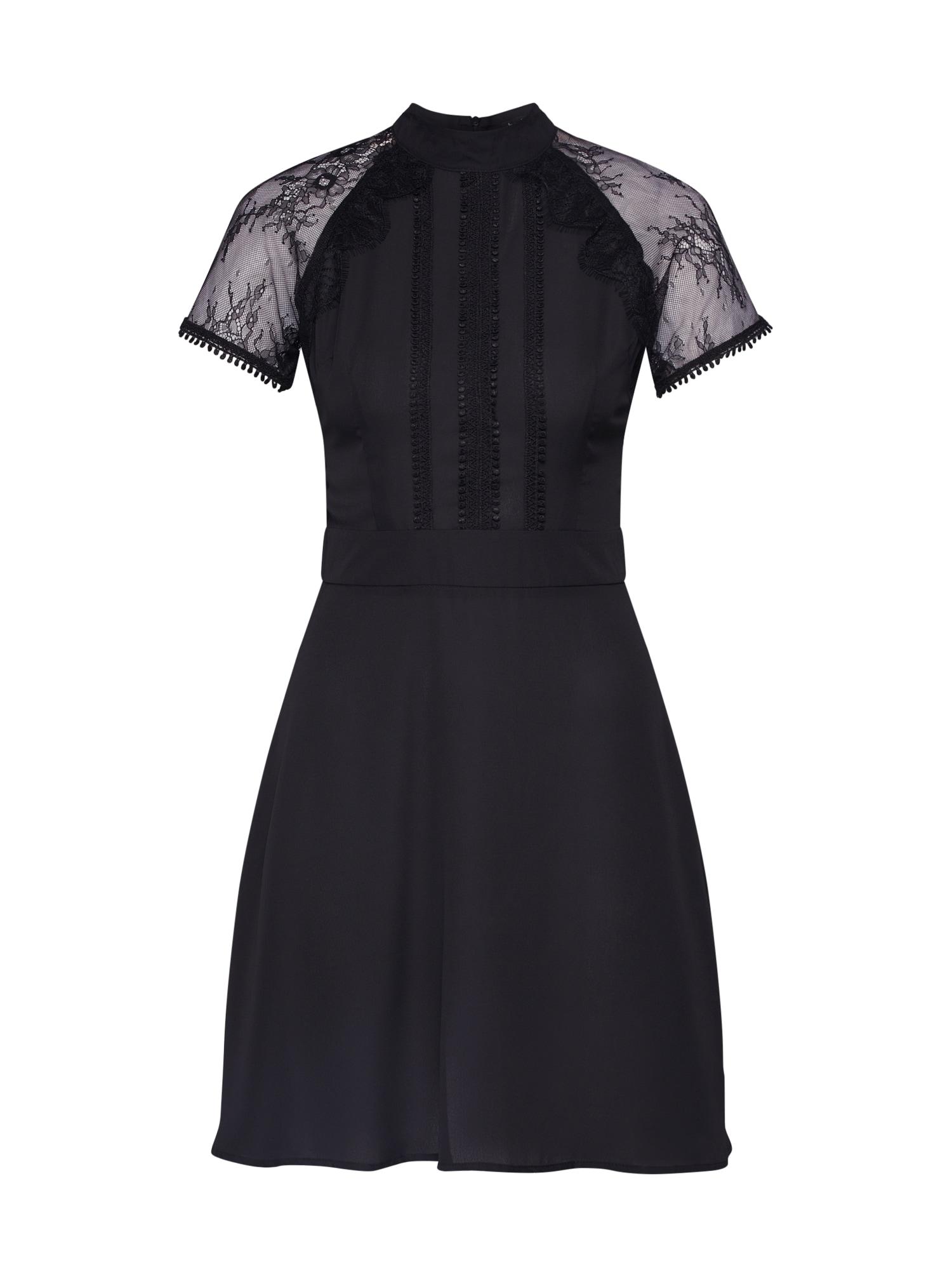 Boohoo Vakarinė suknelė 'Lace Detail Mini Dress' juoda