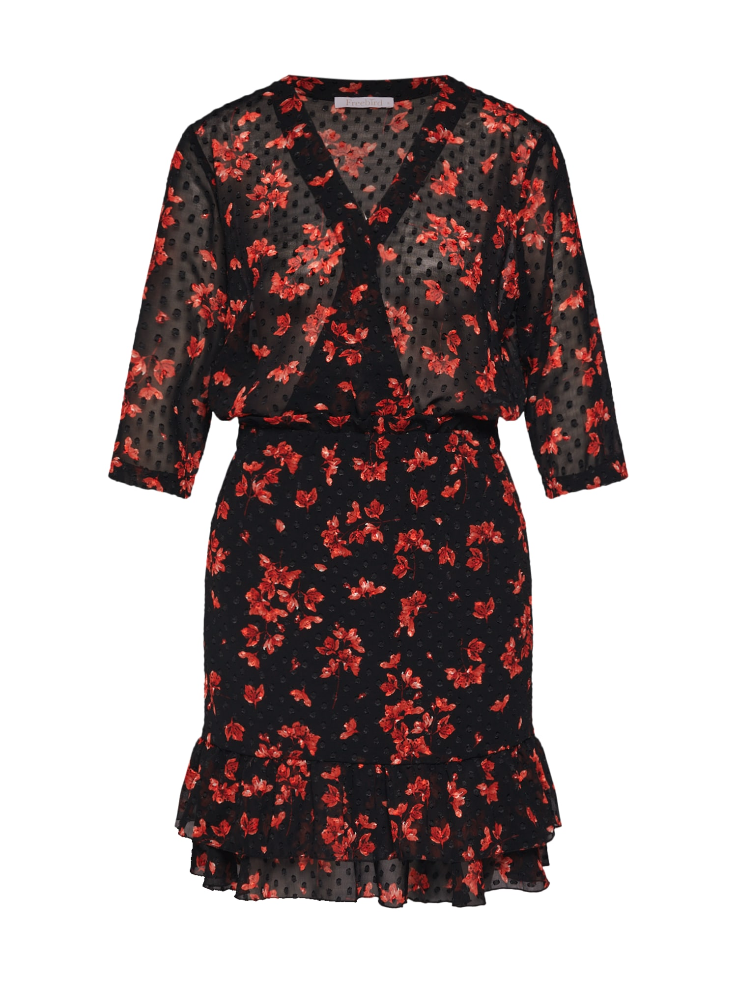 Letní šaty korálová černá Freebird
