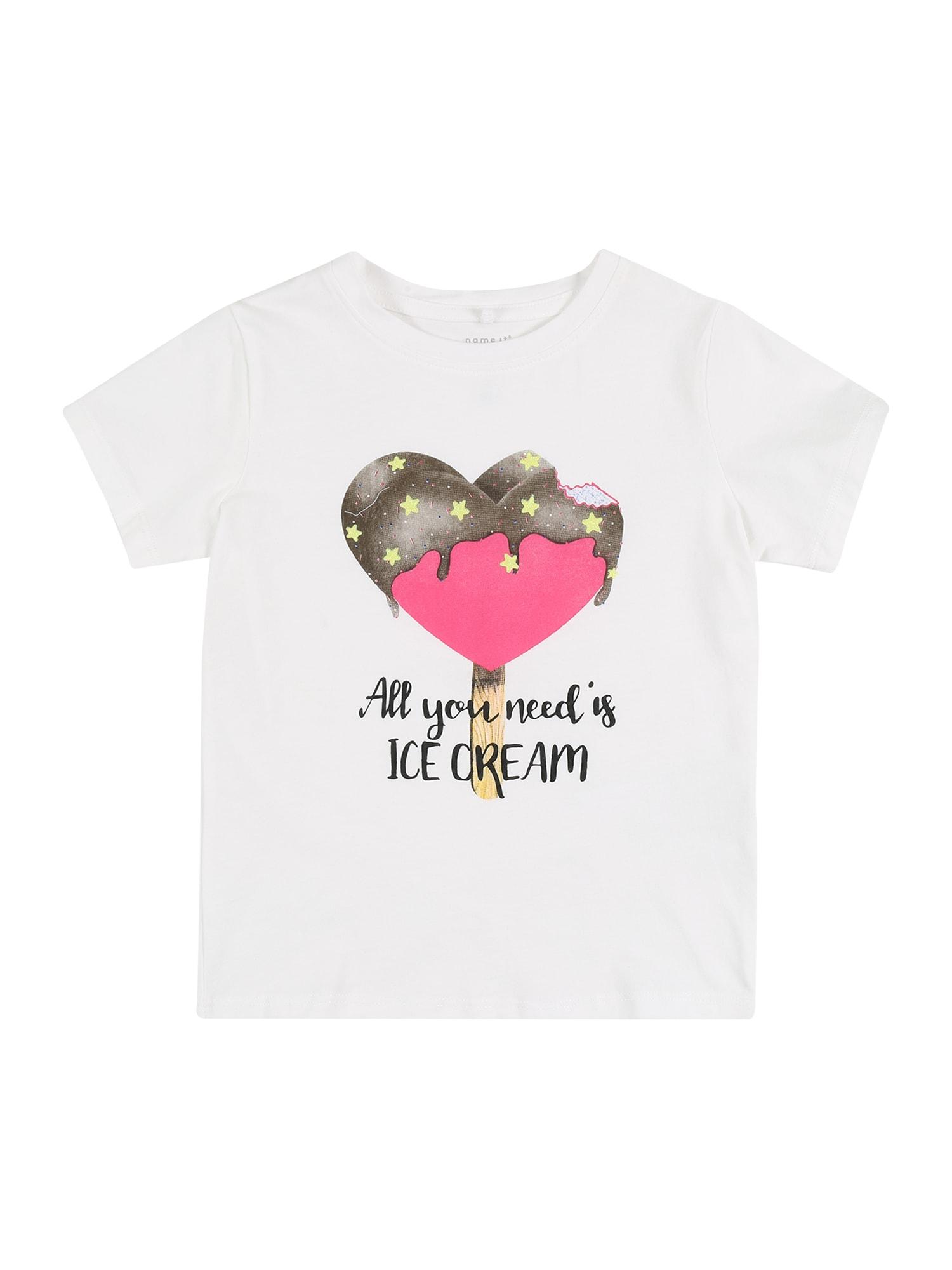 NAME IT Marškinėliai balta / rožinė / ruda / geltona / margai juoda