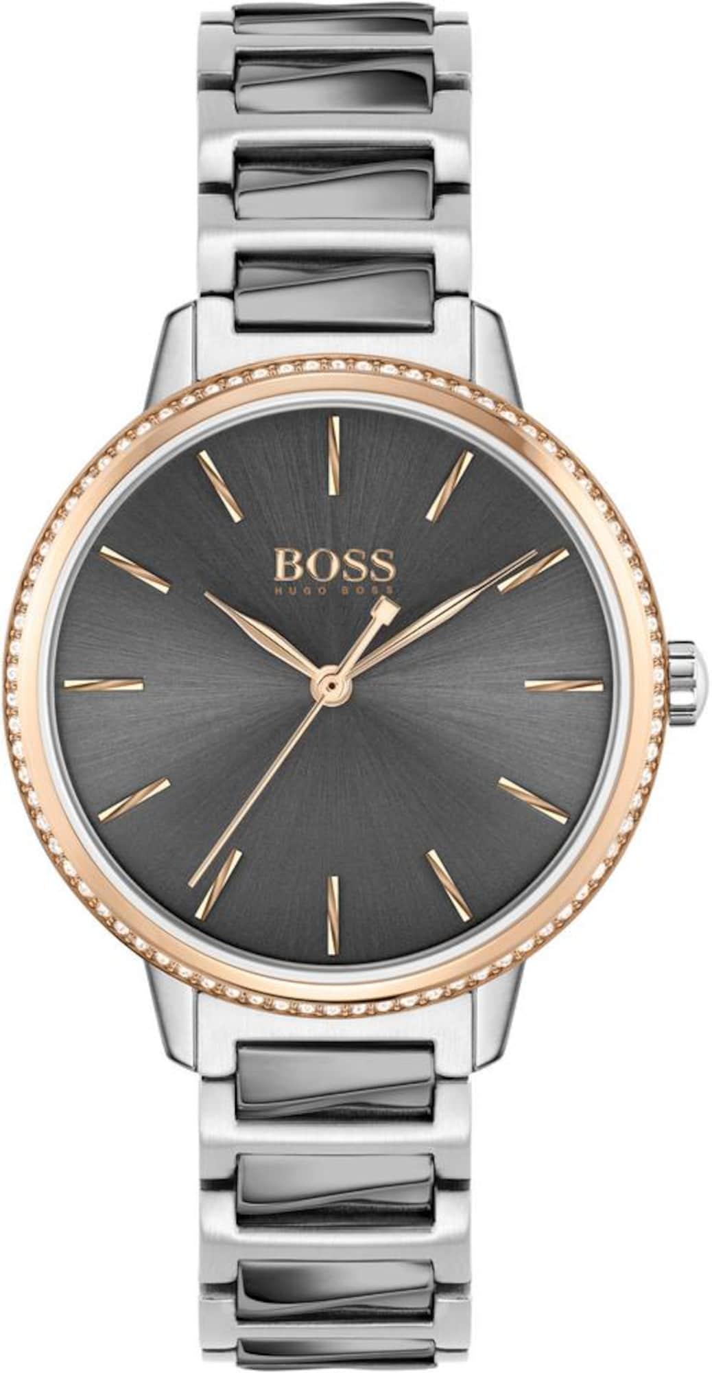 BOSS Analoginis (įprasto dizaino) laikrodis 'SIGNATURE' rožinio aukso spalva / sidabrinė / balta / tamsiai pilka