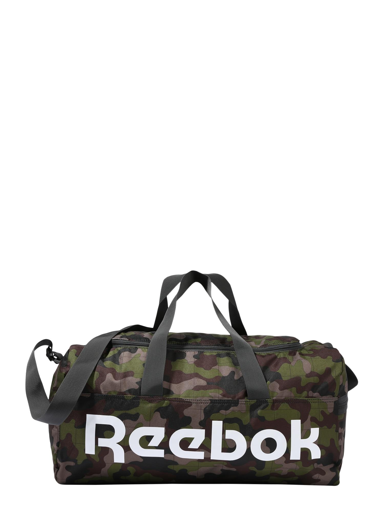 Reebok Classic Cestovná taška  tmavohnedá / tmavosivá / kaki / biela
