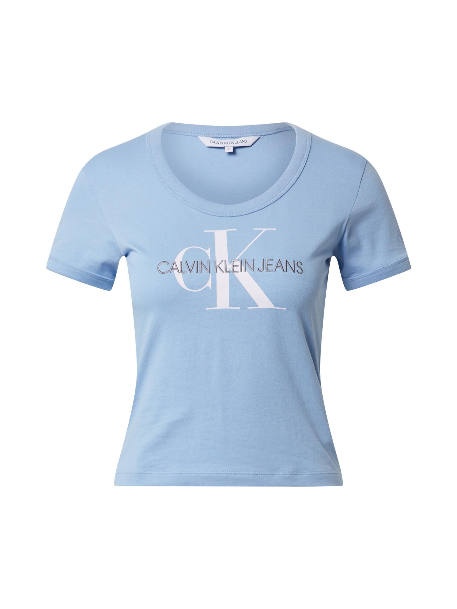 Calvin Klein Jeans Tričko 'VEGETABLE DYE MONOGRAM BABY TEE'  světlemodrá
