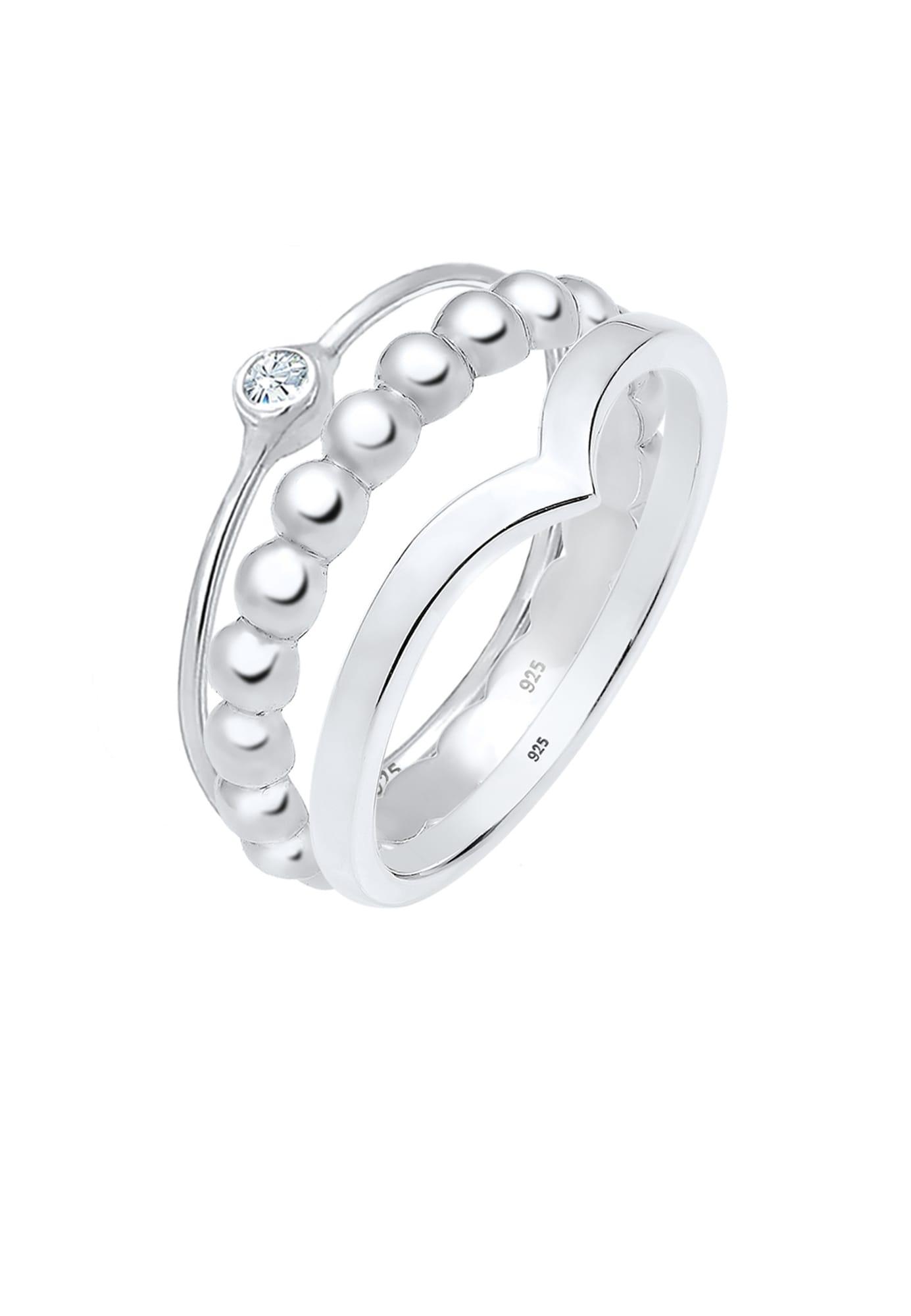 ELLI Žiedas sidabrinė / skaidri spalva