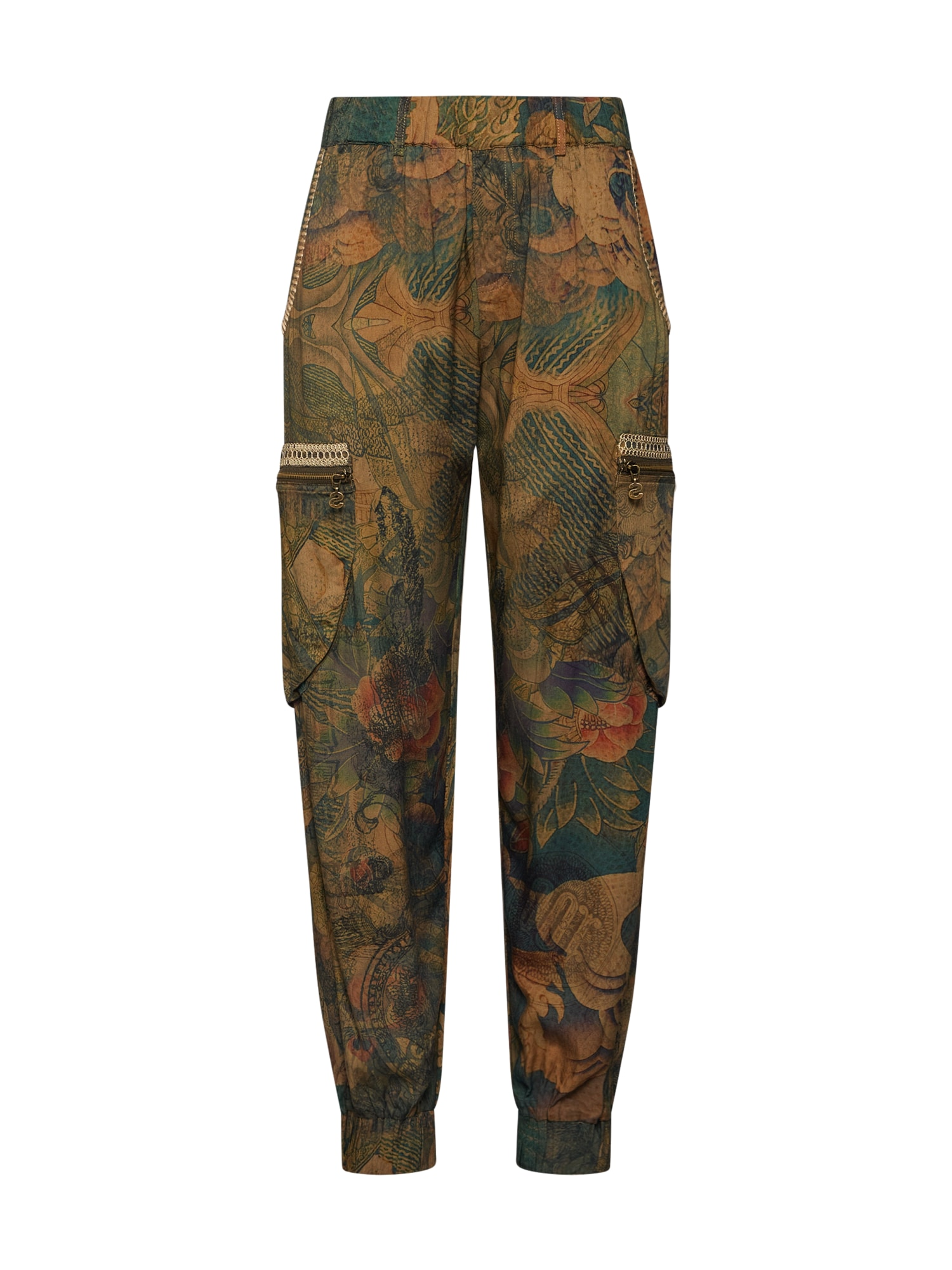 Desigual Hareminės kelnės 'PANT_CORFU' mišrios spalvos / tamsiai žalia