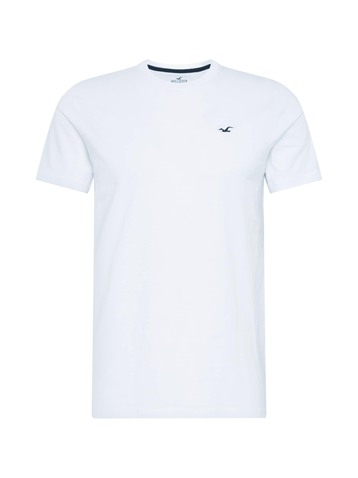 HOLLISTER Marškinėliai balta / tamsiai mėlyna jūros spalva