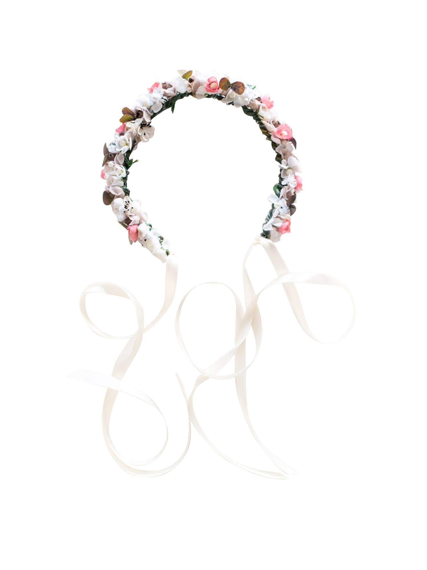 We Are Flowergirls Plaukų papuošalas 'Ola' rožių spalva / balta
