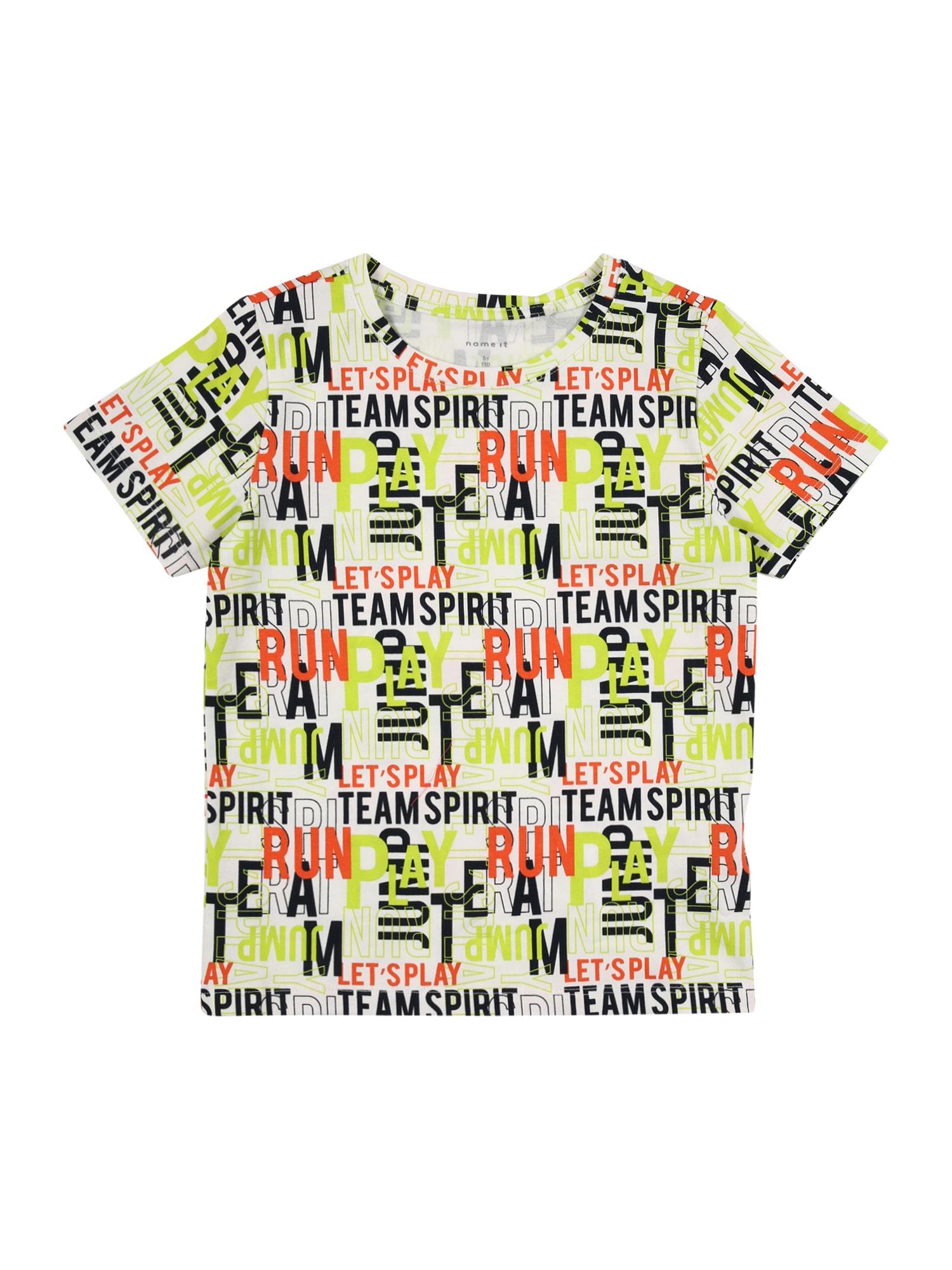 NAME IT Marškinėliai balta / neoninė geltona / oranžinė / juoda