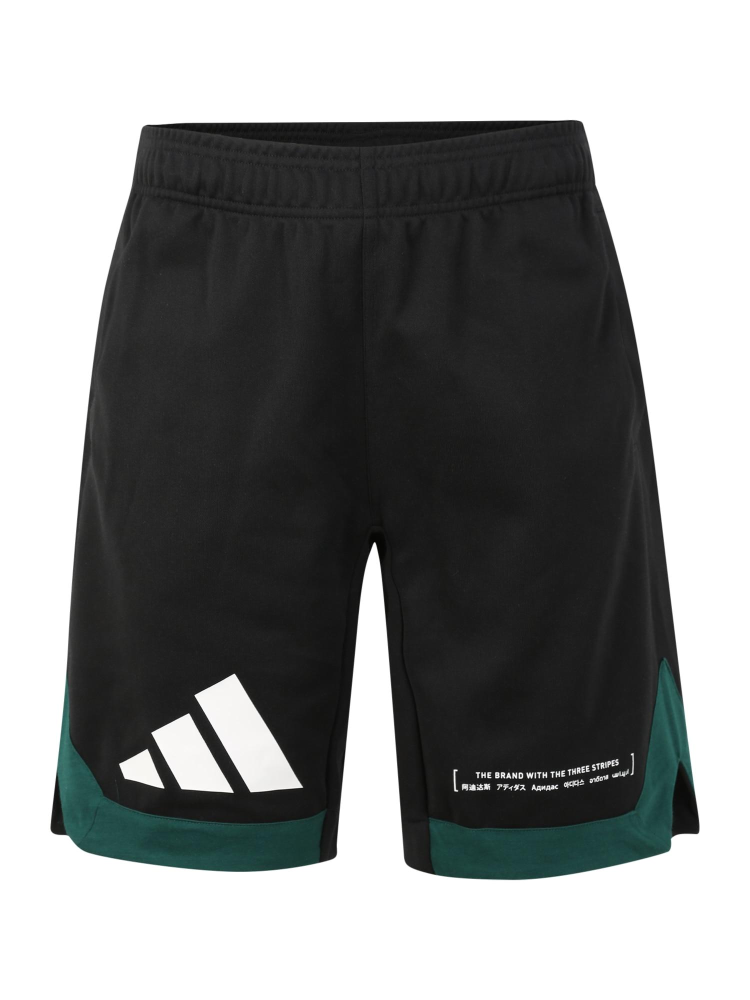 ADIDAS PERFORMANCE Sportinės kelnės balta / juoda / žalia