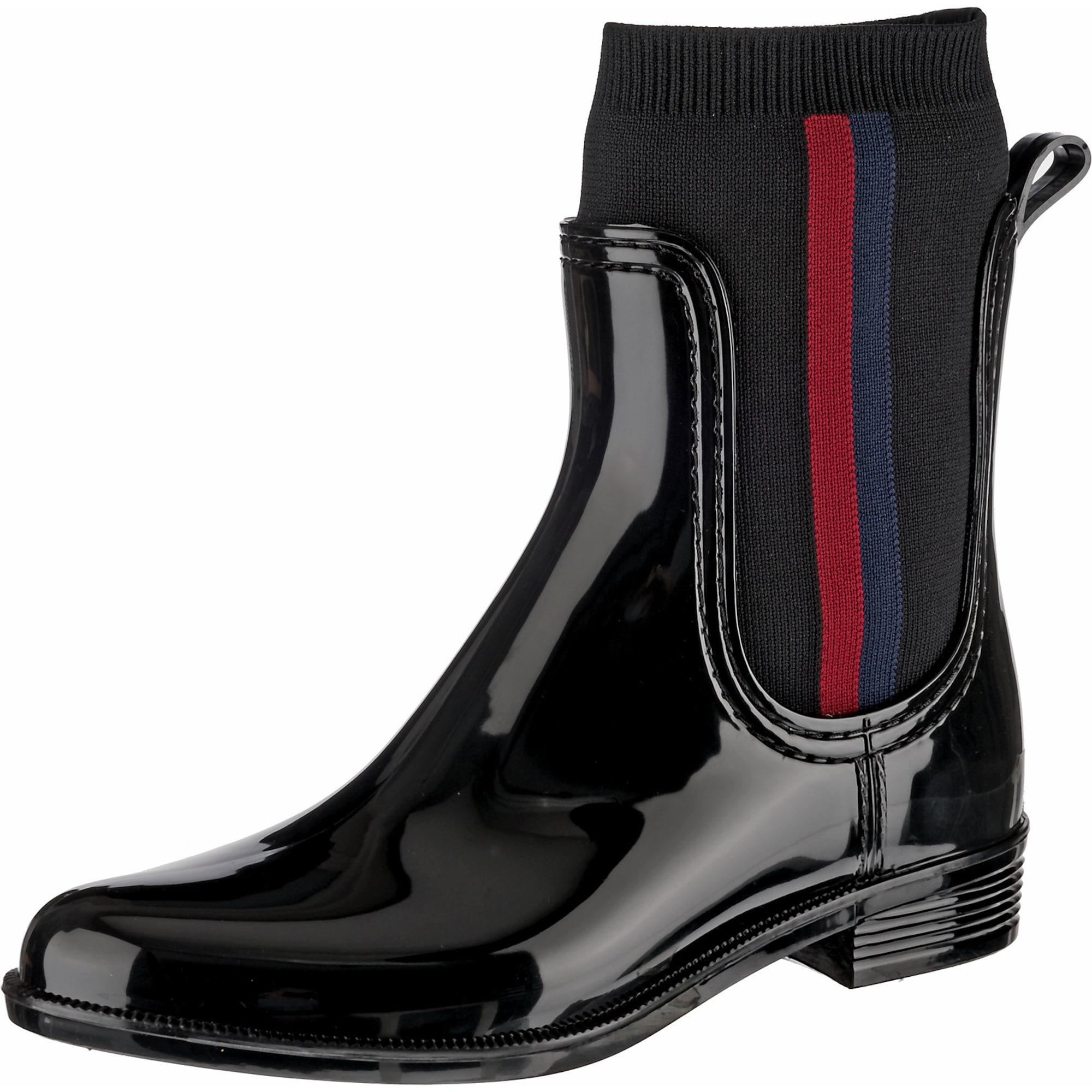 TOMMY HILFIGER Guminiai batai juoda / tamsiai mėlyna / raudona