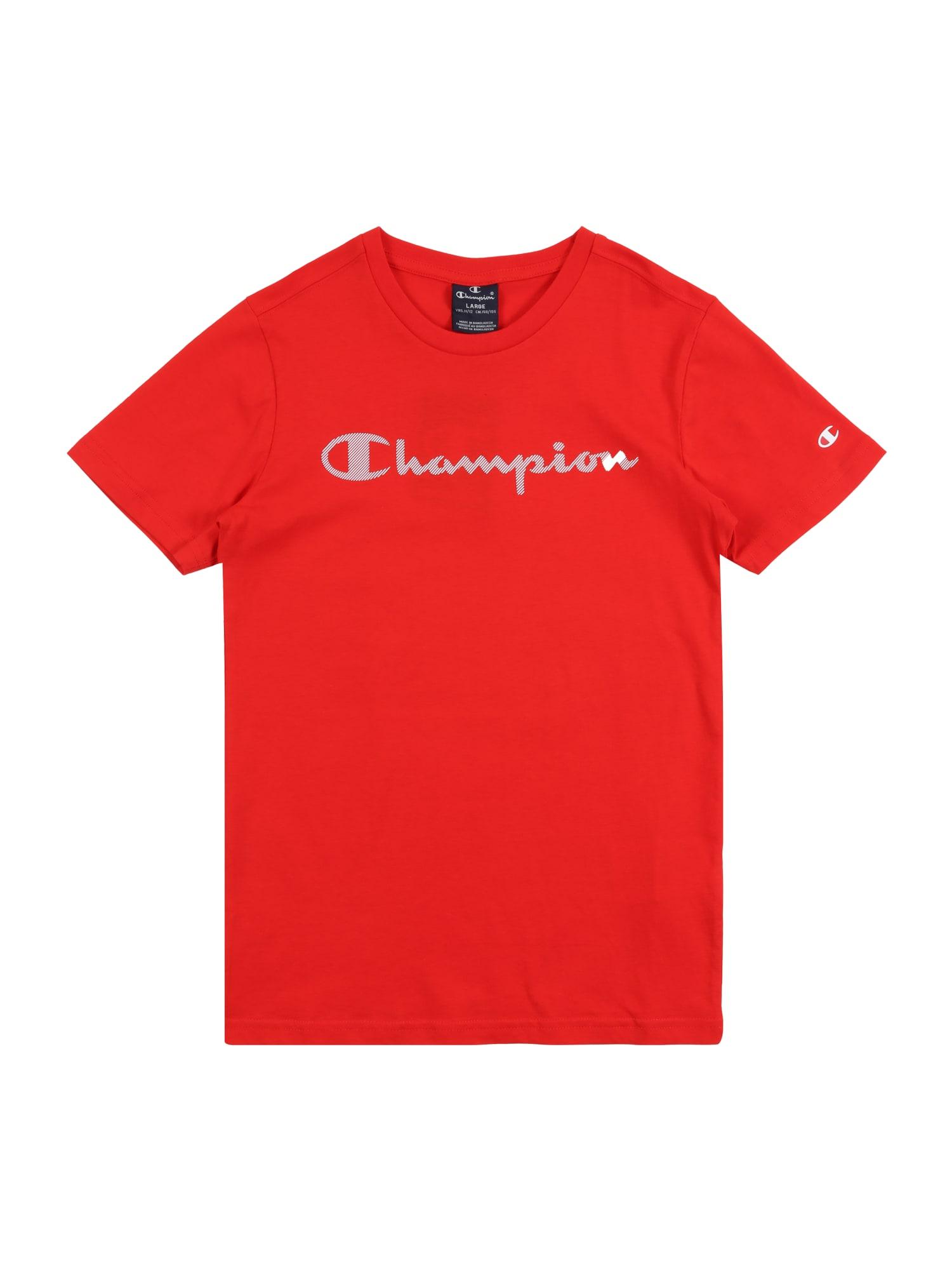 Champion Authentic Athletic Apparel Marškinėliai raudona / balta