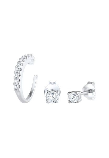 Ohrringe für Frauen - Ohrringe Single Earcuff, Kristall Ohrstecker › ELLI › silber  - Onlineshop ABOUT YOU