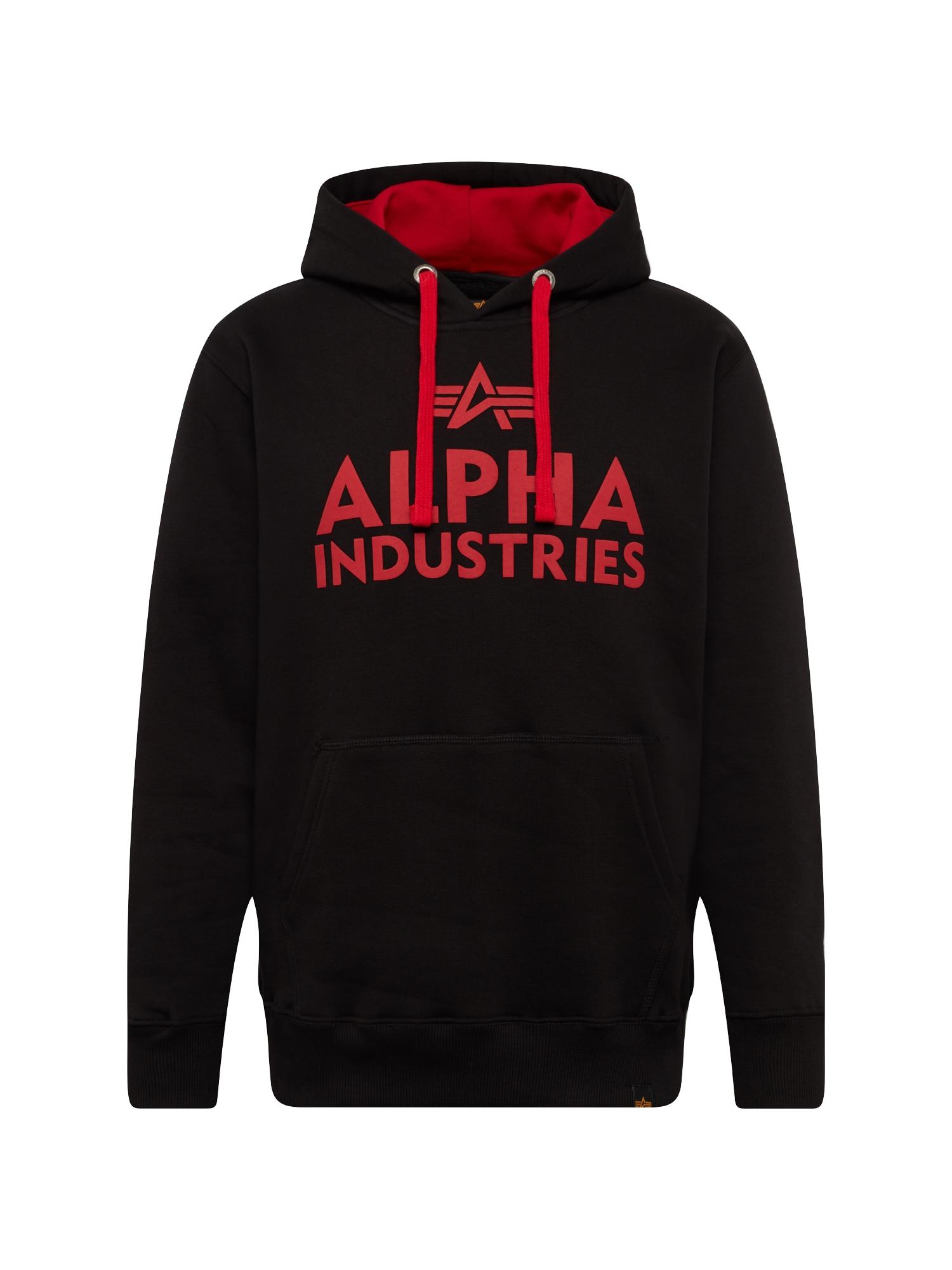 ALPHA INDUSTRIES Megztinis be užsegimo juoda / raudona
