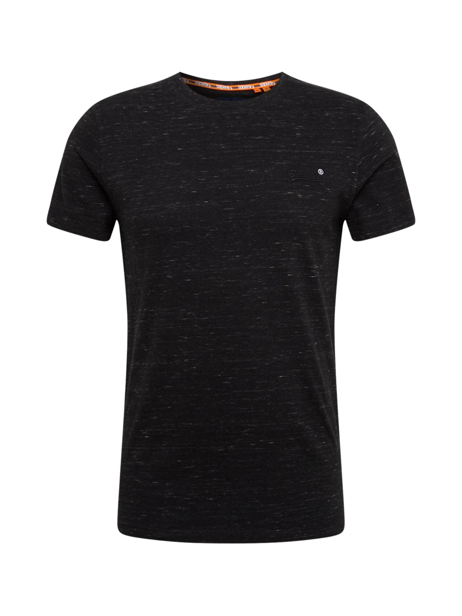 Superdry Marškinėliai juoda / balta
