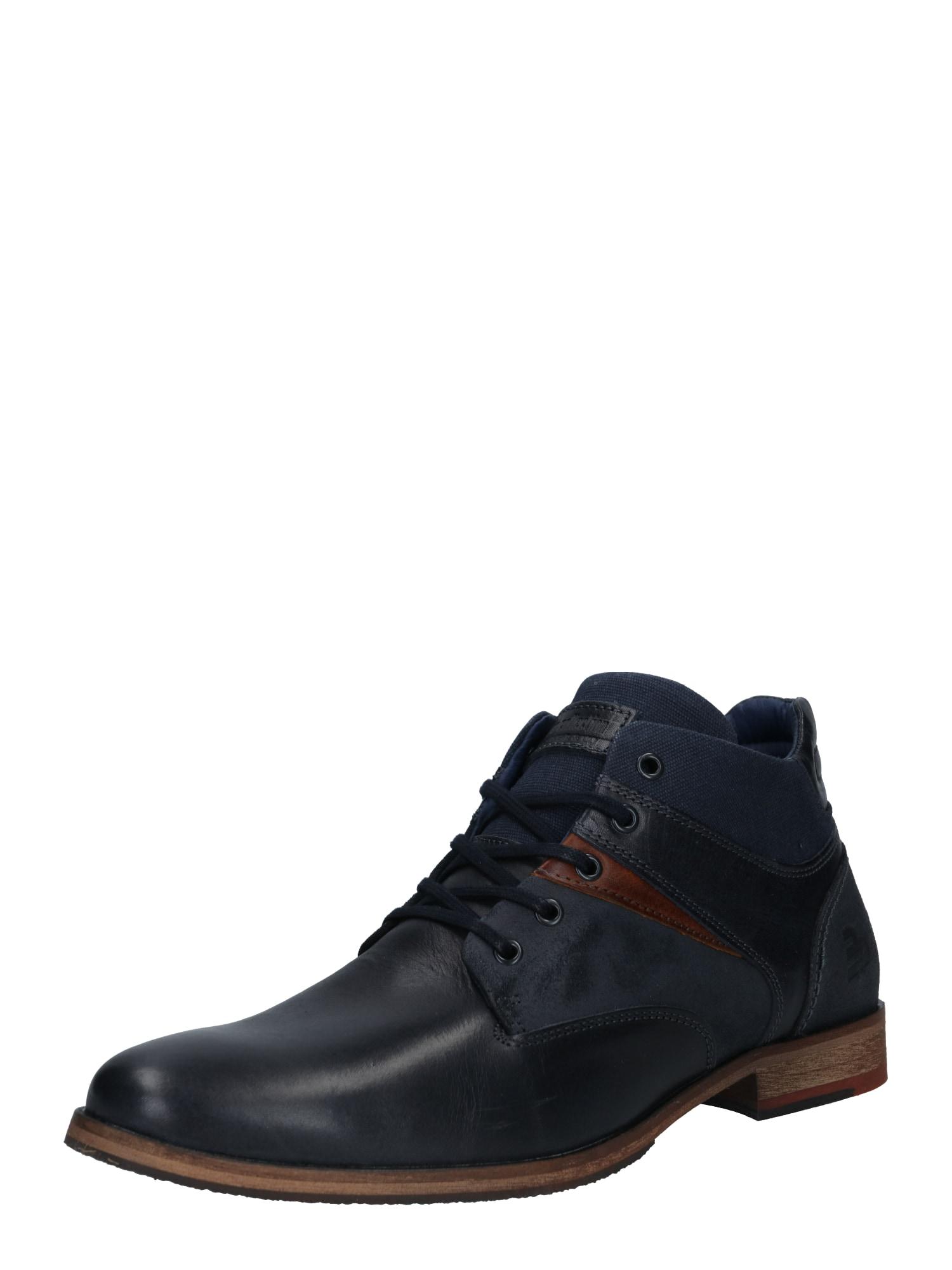 BULLBOXER Šněrovací boty  černá / tmavě modrá / světle hnědá