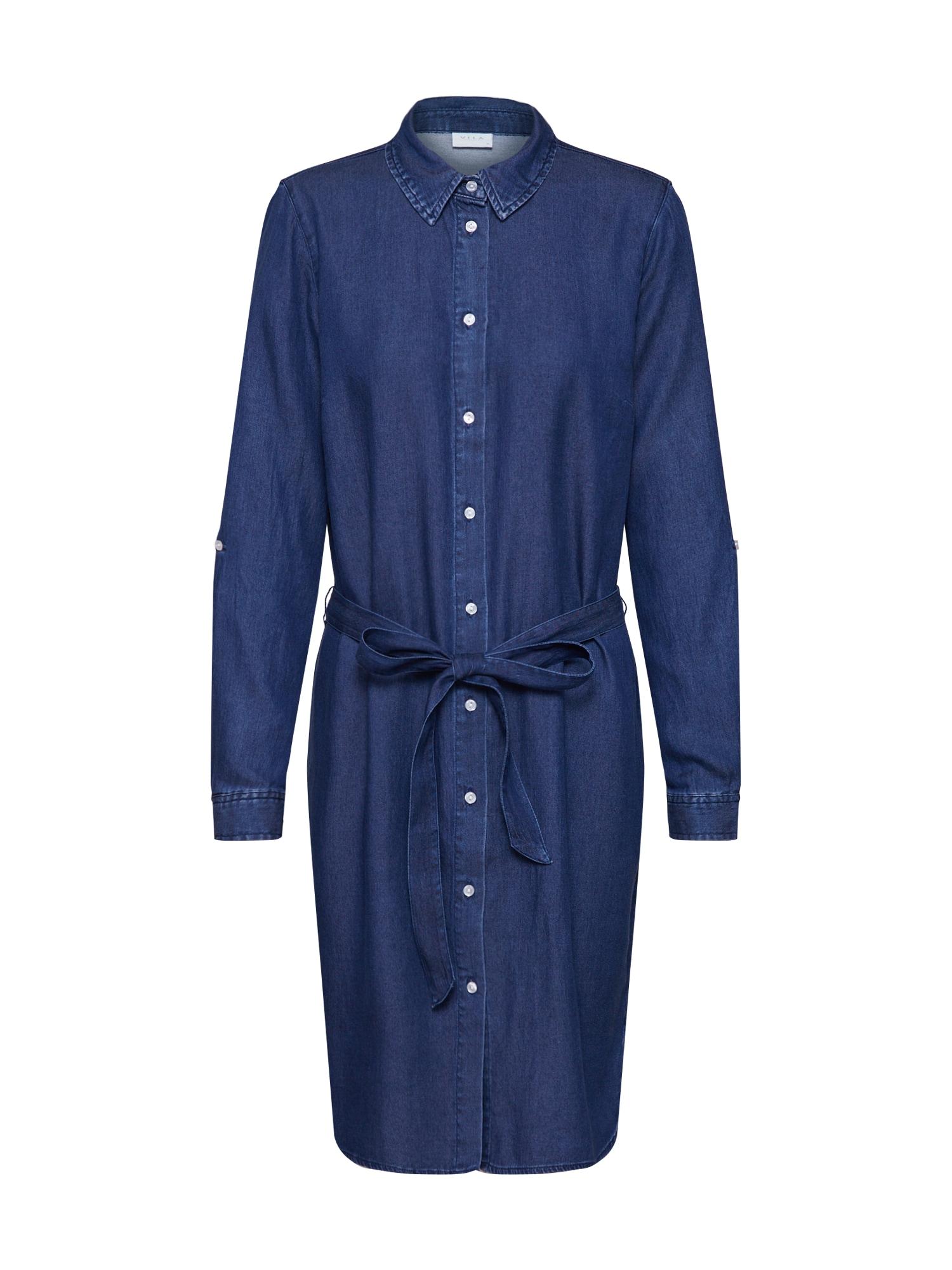 VILA Košeľové šaty 'VIBISTA'  modrá denim