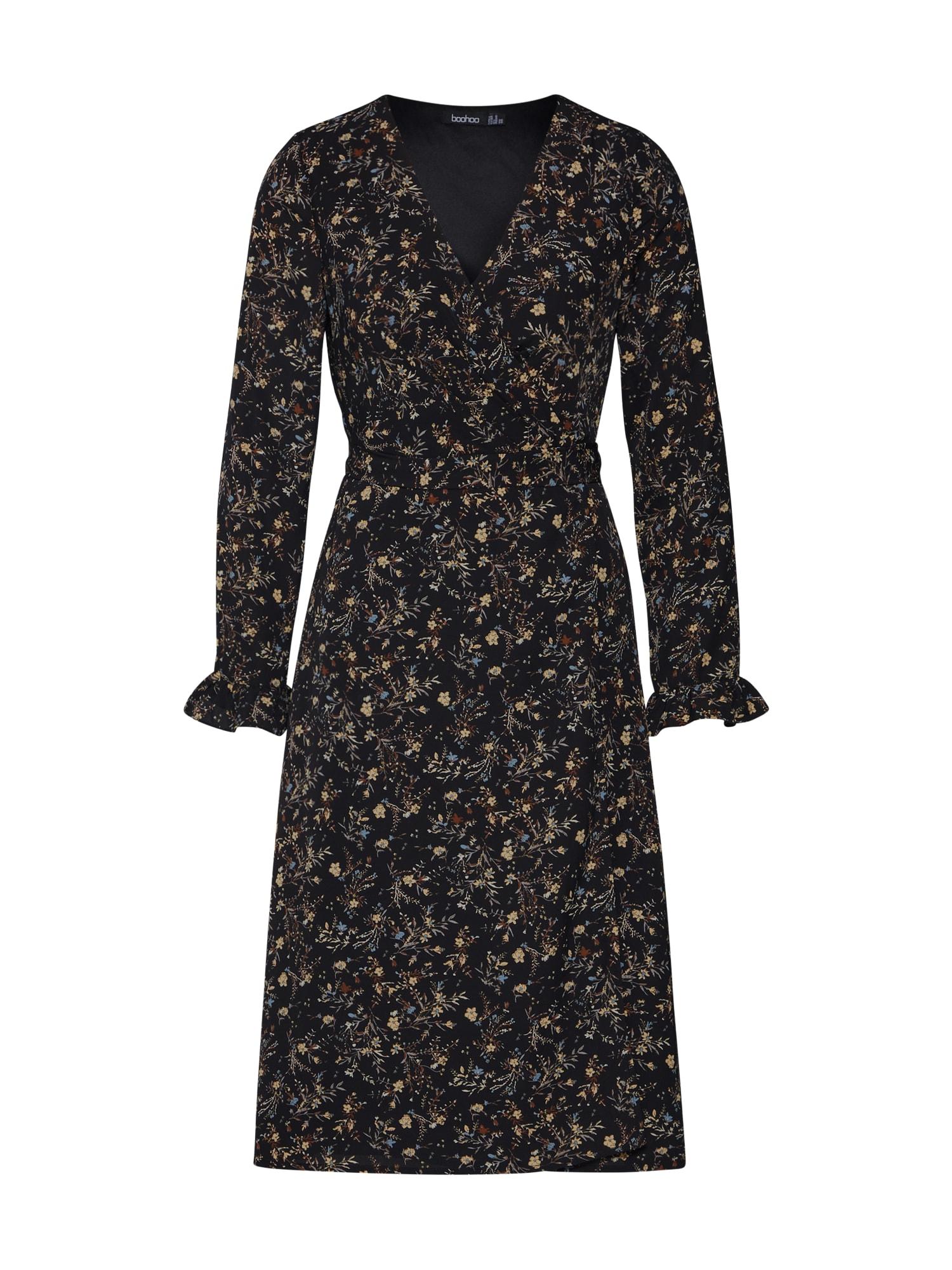 Boohoo Palaidinės tipo suknelė 'Floral Wrap Maxi' balkšva / juoda