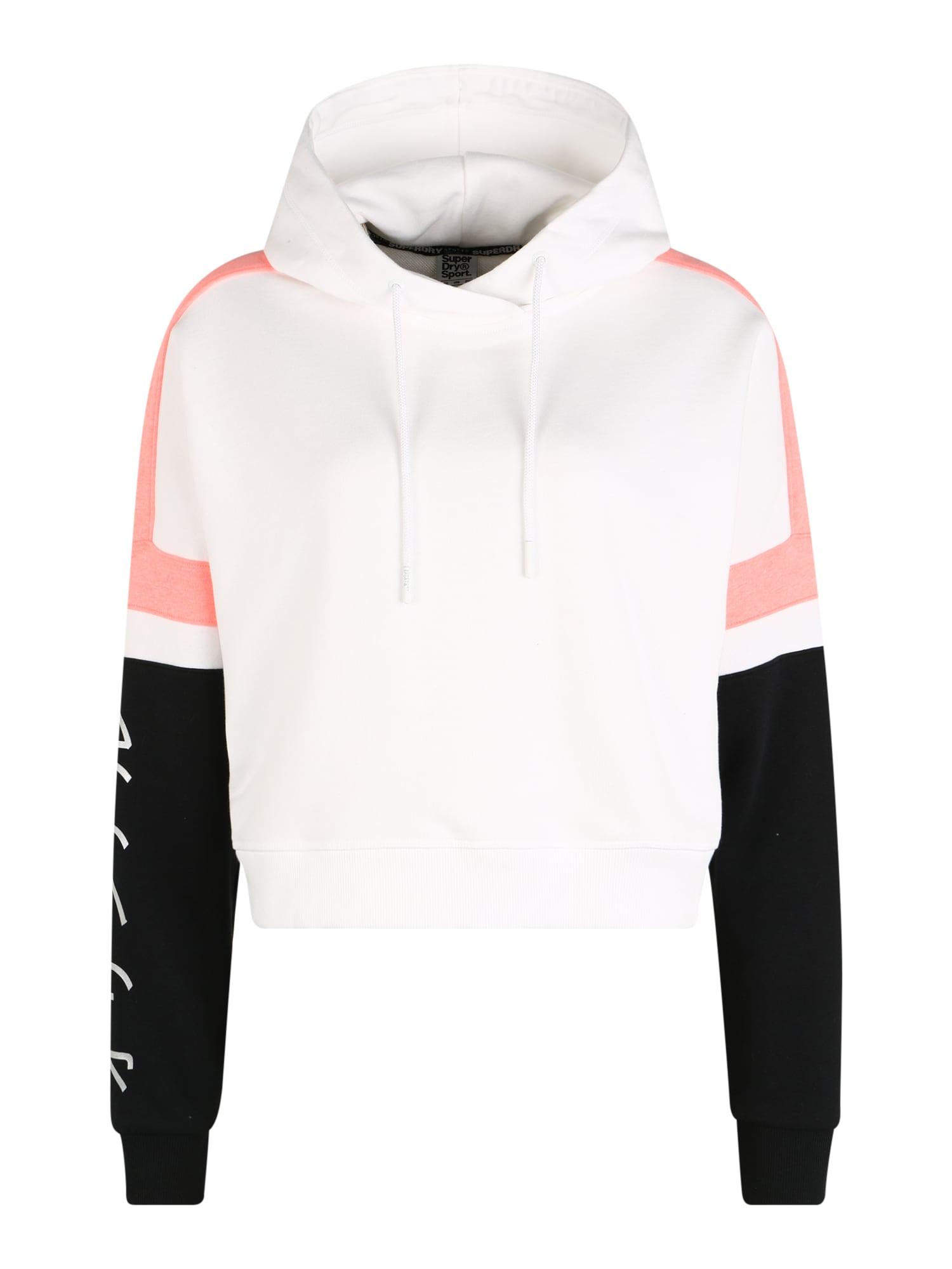 Superdry Sportinio tipo megztinis juoda / balta / sidabras / koralų splava