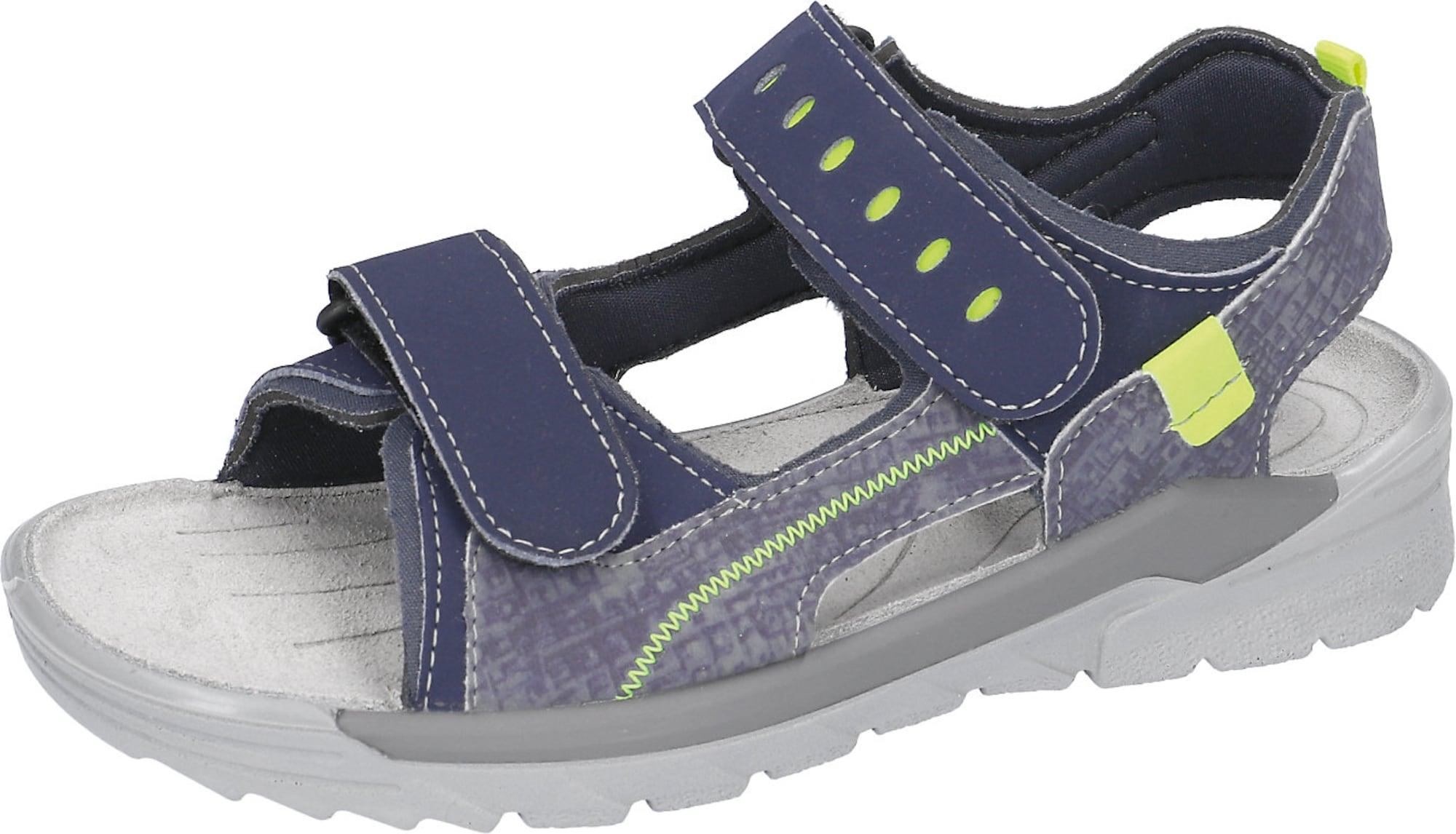 RICOSTA Atviri batai mėlyna / pilka / neoninė žalia