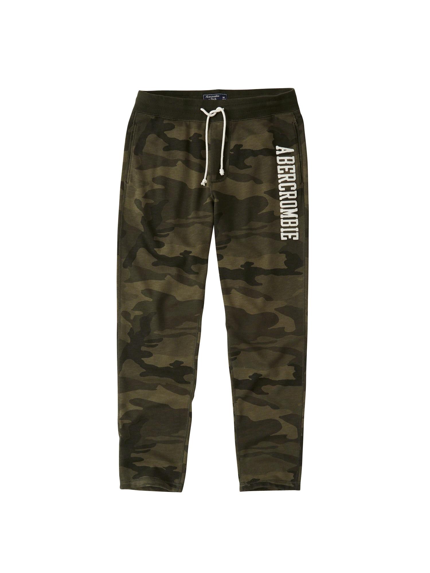 Kalhoty Forever Logo Classic Pant Camo olivová Abercrombie & Fitch