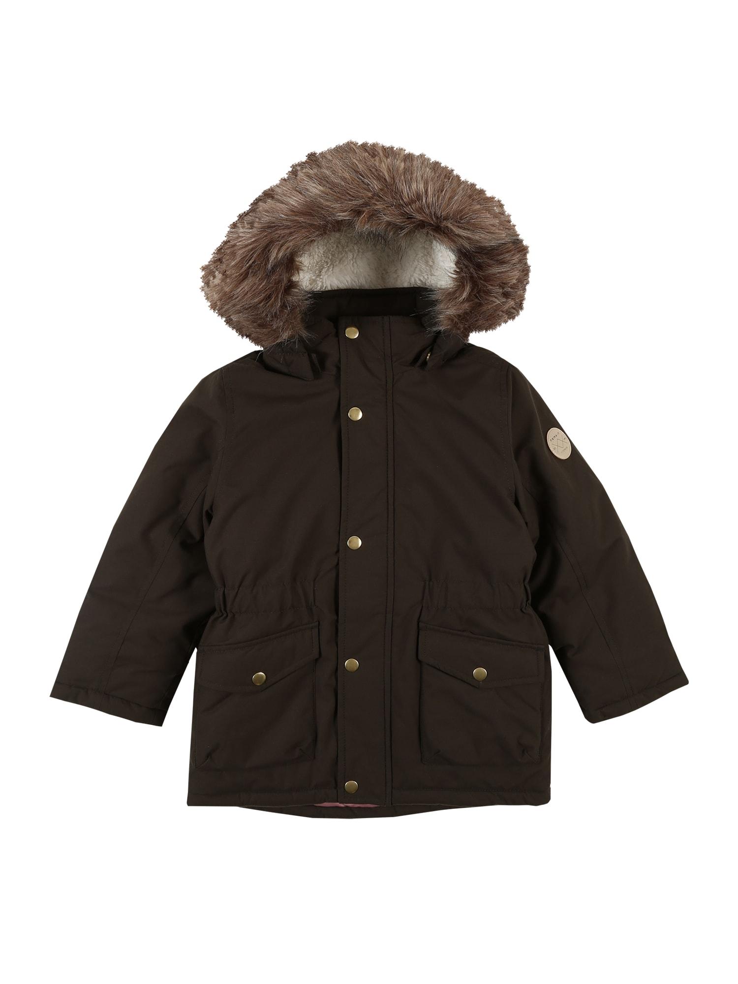 NAME IT Žieminė striukė 'MIBIS' alyvuogių spalva / tamsiai ruda