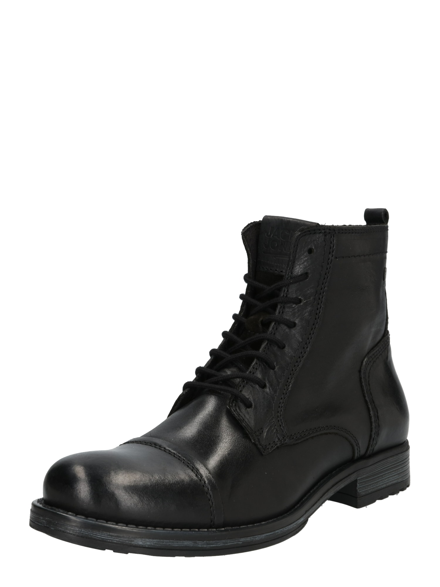 JACK & JONES Auliniai batai su raišteliais juoda / antracito