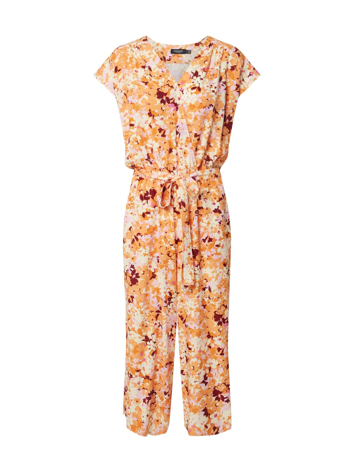 SOAKED IN LUXURY Kombinezono tipo kostiumas 'SLElisha Mila Jumpsuit' rožinė / oranžinė / geltona