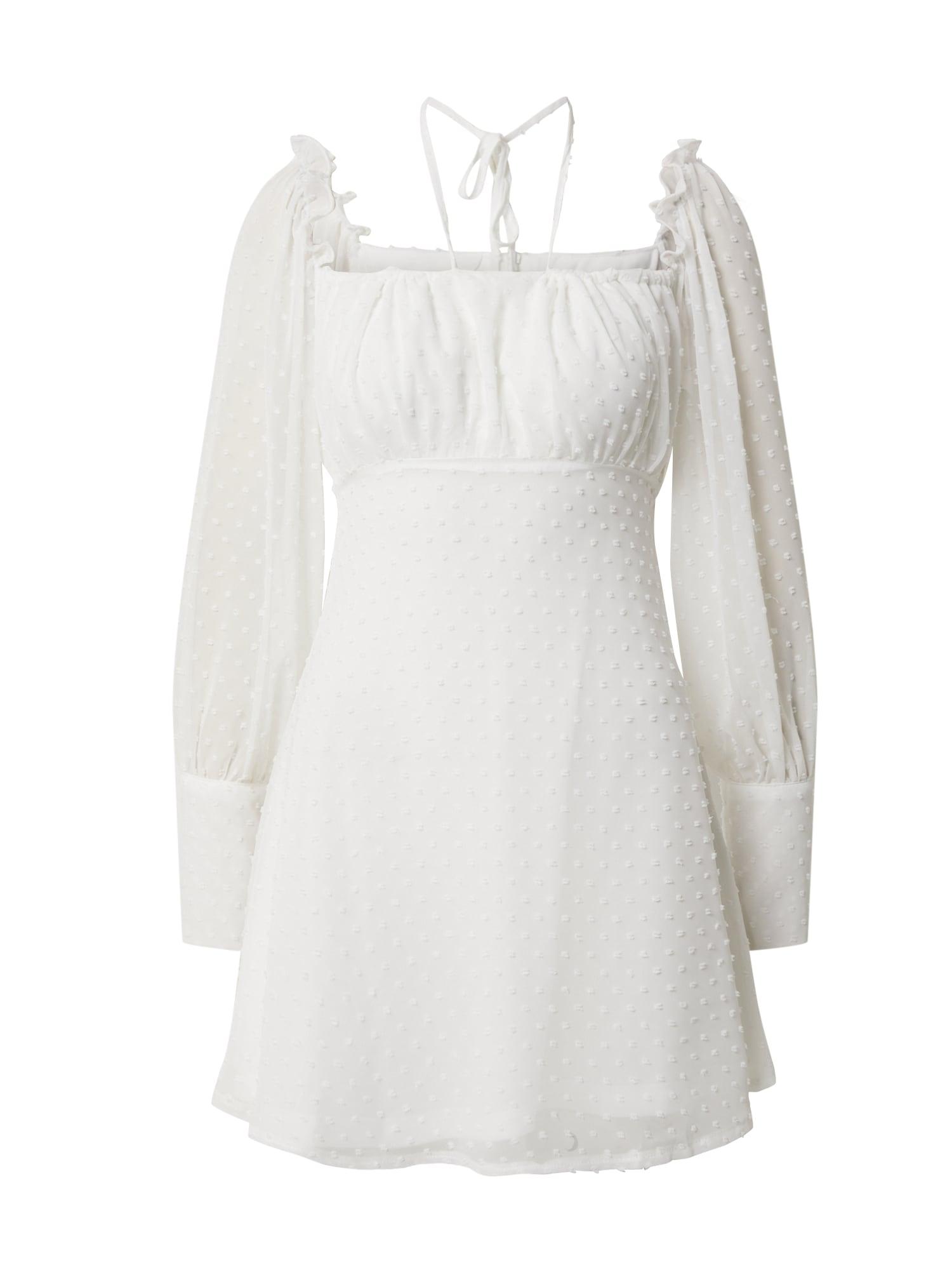 Missguided Letné šaty 'SQUARE DOBBY'  biela