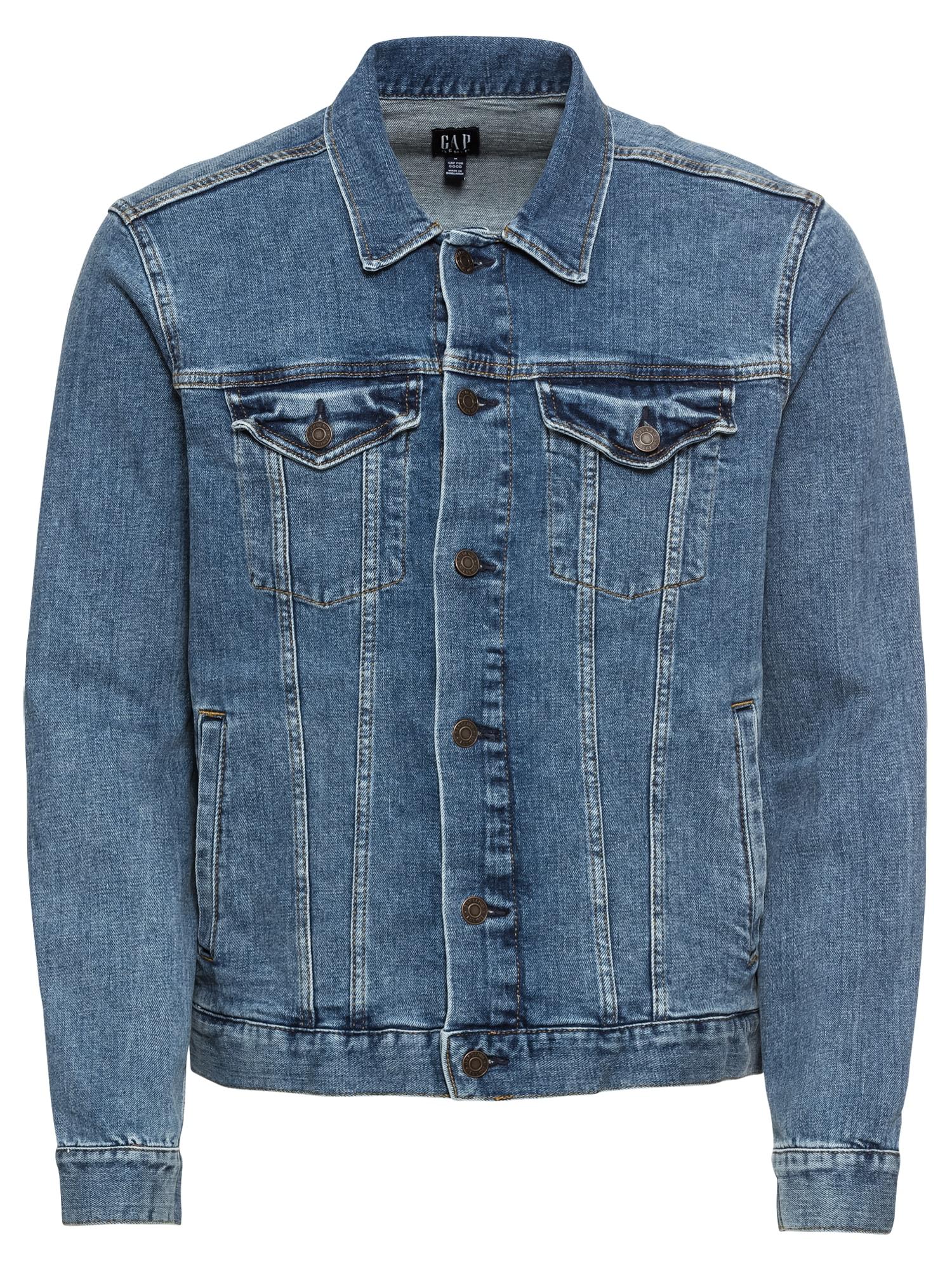 GAP Demisezoninė striukė 'V-DENIM ST - CALM BLUE' tamsiai (džinso) mėlyna