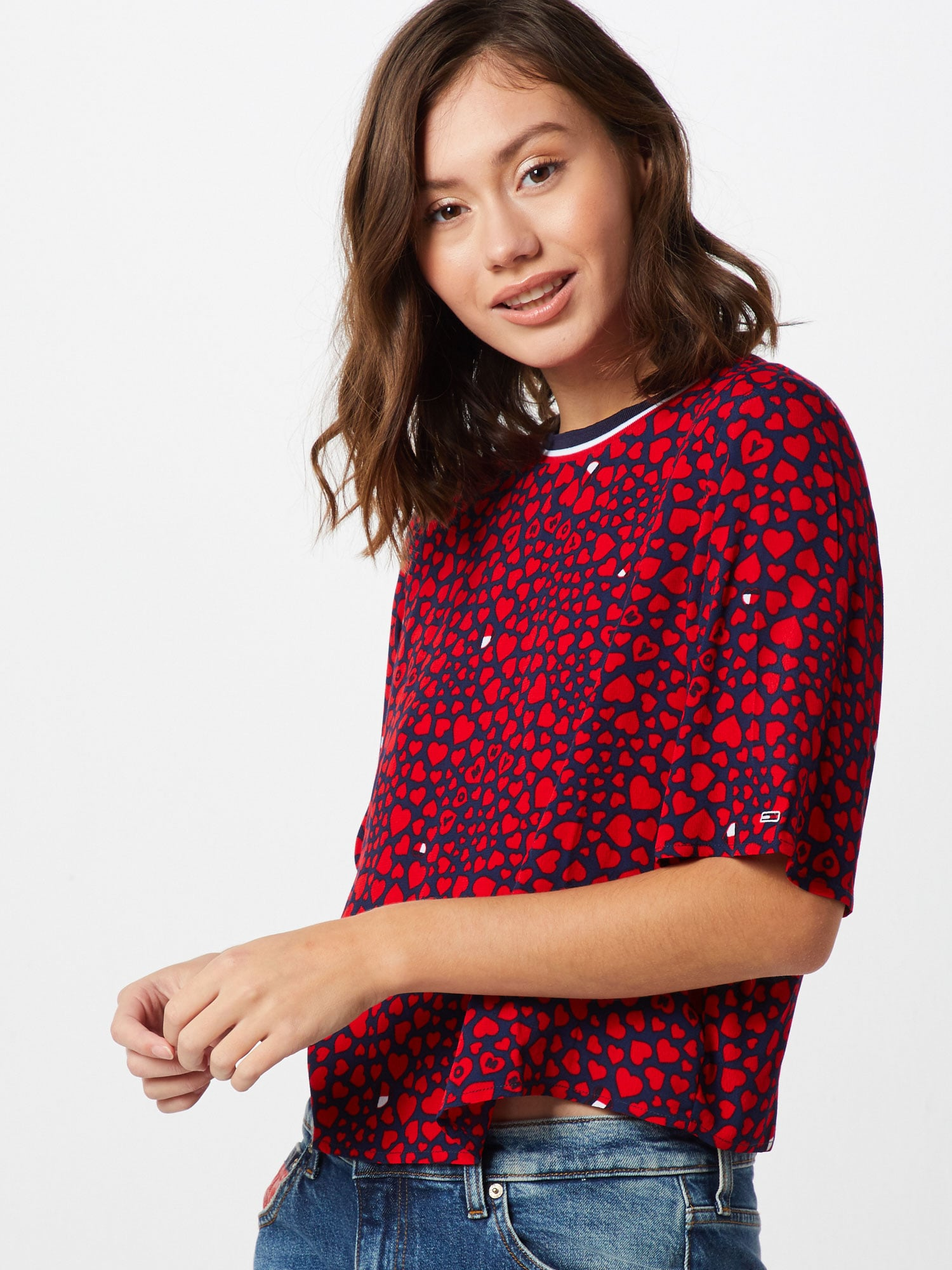 Tommy Jeans T-shirt 'Heart'  röd / marinblå