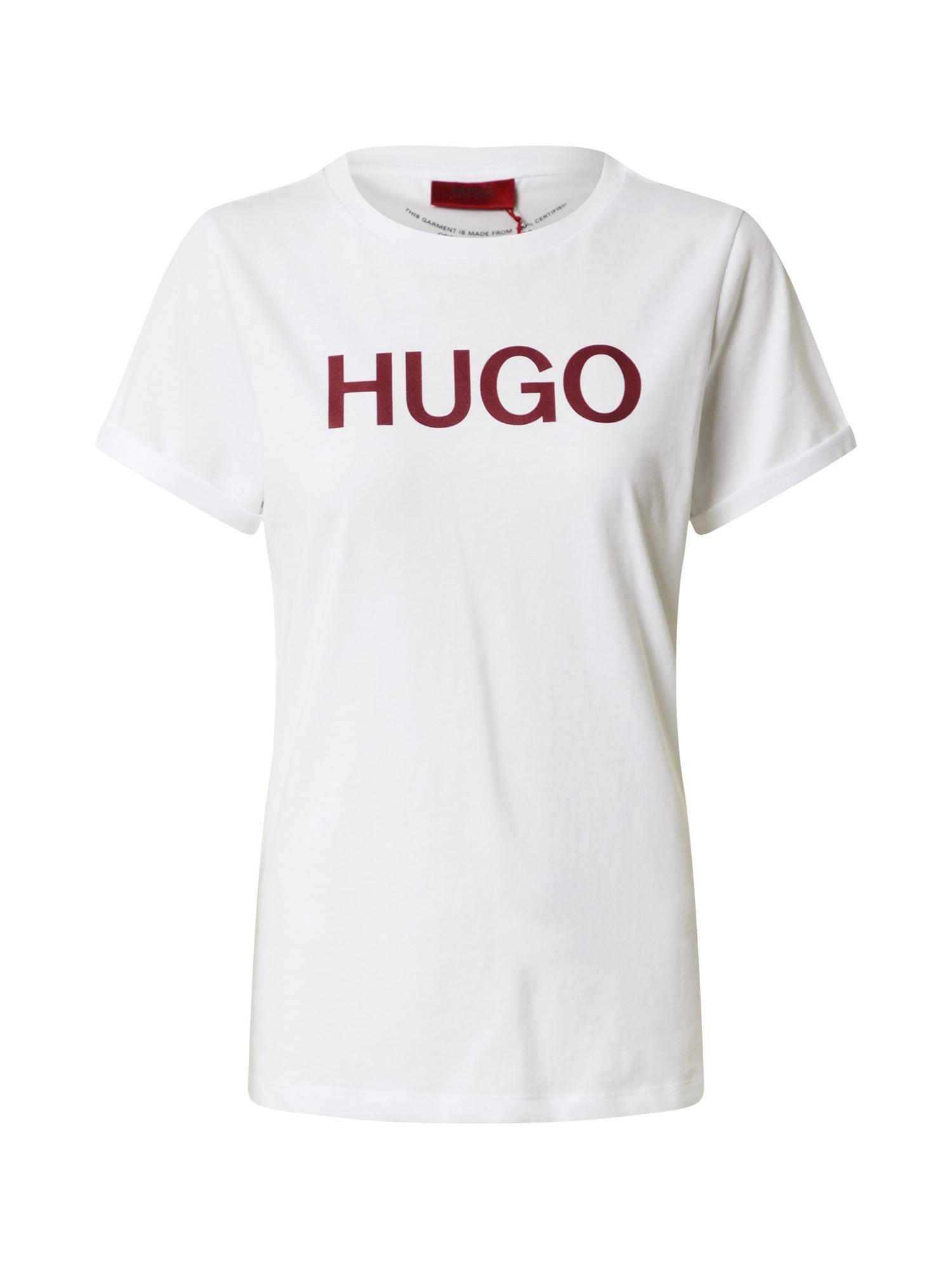 HUGO Marškinėliai balta / vyno raudona spalva
