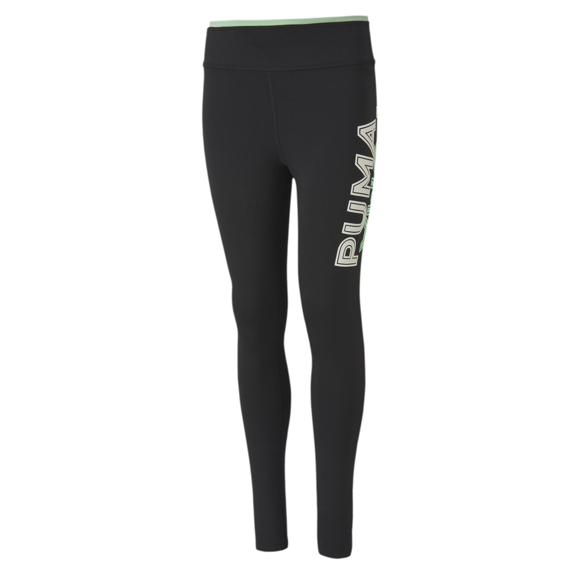 PUMA Sportinės kelnės 'Modern Sports' juoda / balta / pastelinė žalia
