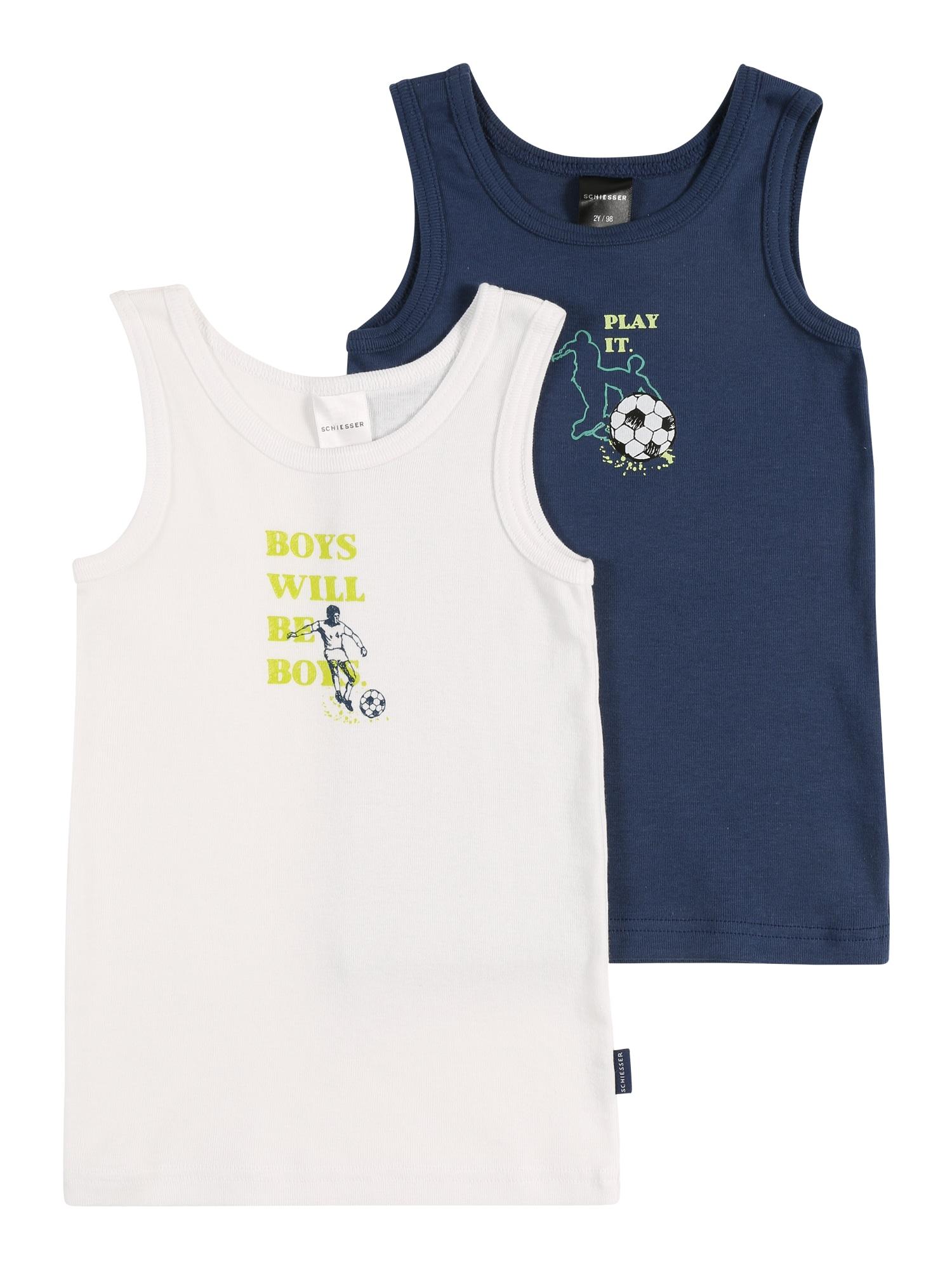 SCHIESSER Apatiniai marškinėliai balta / mėlyna