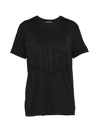 PIECES Damen T-Shirt FRINGES schwarz   05713736649515