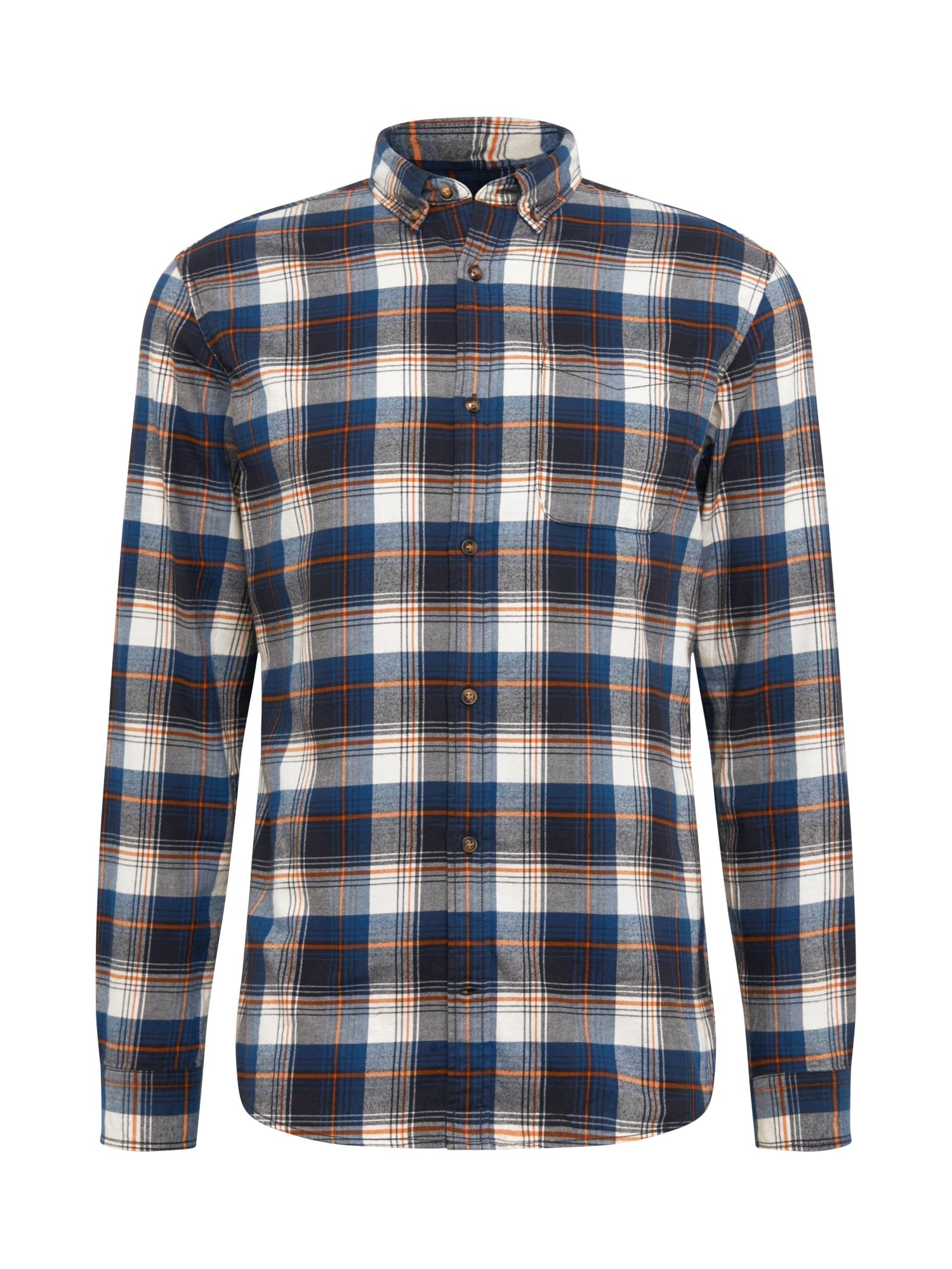JACK & JONES Marškiniai šviesiai pilka / balta / tamsiai oranžinė / tamsiai mėlyna / nakties mėlyna