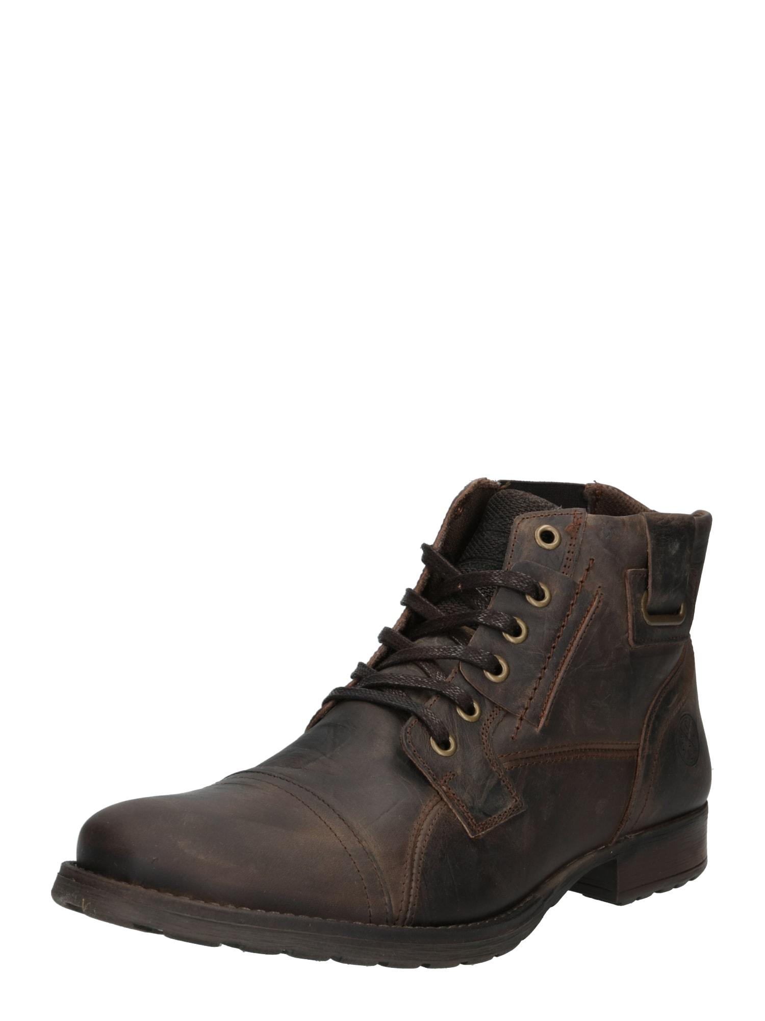 BULLBOXER Auliniai batai su kulniuku 'Schnürstiefel' tamsiai ruda